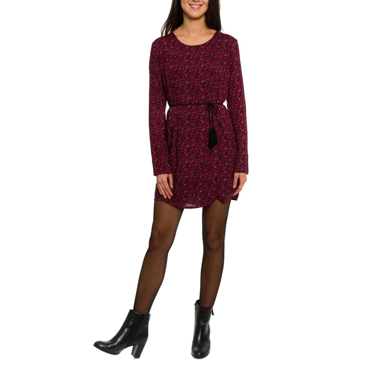 Платье с рисунком и длинными рукавамиСостав и описание:Материал: 50% вискозы, 50% полиэстера.Марка: PARAMITA.<br><br>Цвет: бордовый/цветочный рисунок<br>Размер: M.L