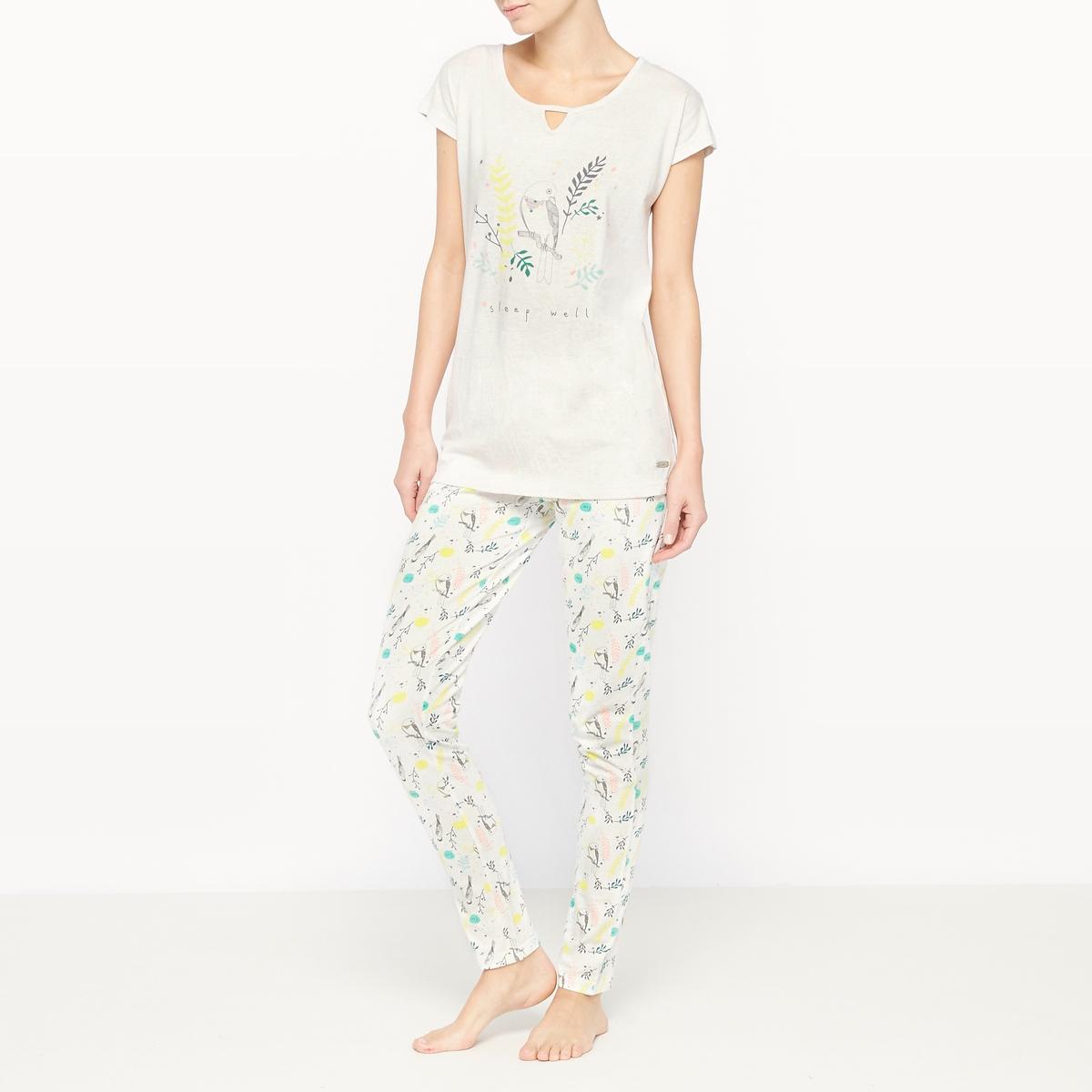 Пижама с короткими рукавами из хлопка SpringПижама Spring от Dodo. Двухцветная пижама из мягкой ткани, яркая расцветка.  Однотонная футболка с короткими рукавами, оригинальный закругленный вырез, рисунок спереди. Брюки с рисунком и эластичным поясом. Состав и описание :Материал футболки : 50% хлопка, 50% полиэстераМатериал брюк : 100% хлопокМарка : Dodo Уход :Машинная стирка при 30 °C с вещами схожих цветов<br><br>Цвет: рисунок/бежевый фон