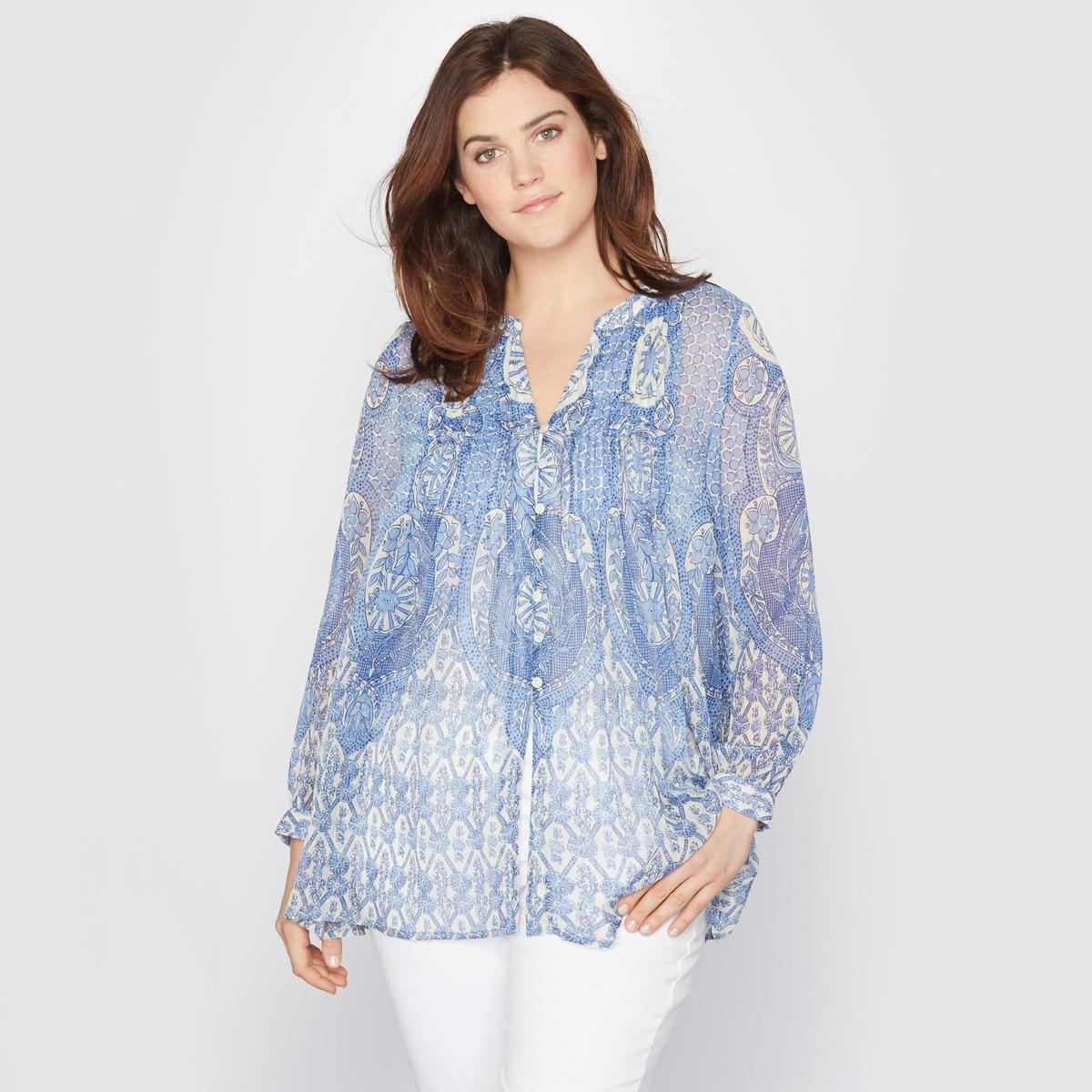 Рубашка длинная с кашемировым рисункомДлинная рубашка. Кашемировый рисунок, прозрачная вуаль и складки спереди… Круглый вырез. Длинные рукава. Застежка на пуговицы. Вуаль, 100% полиэстера. Длина 76 см.<br><br>Цвет: наб. рисунок синий<br>Размер: 42 (FR) - 48 (RUS)