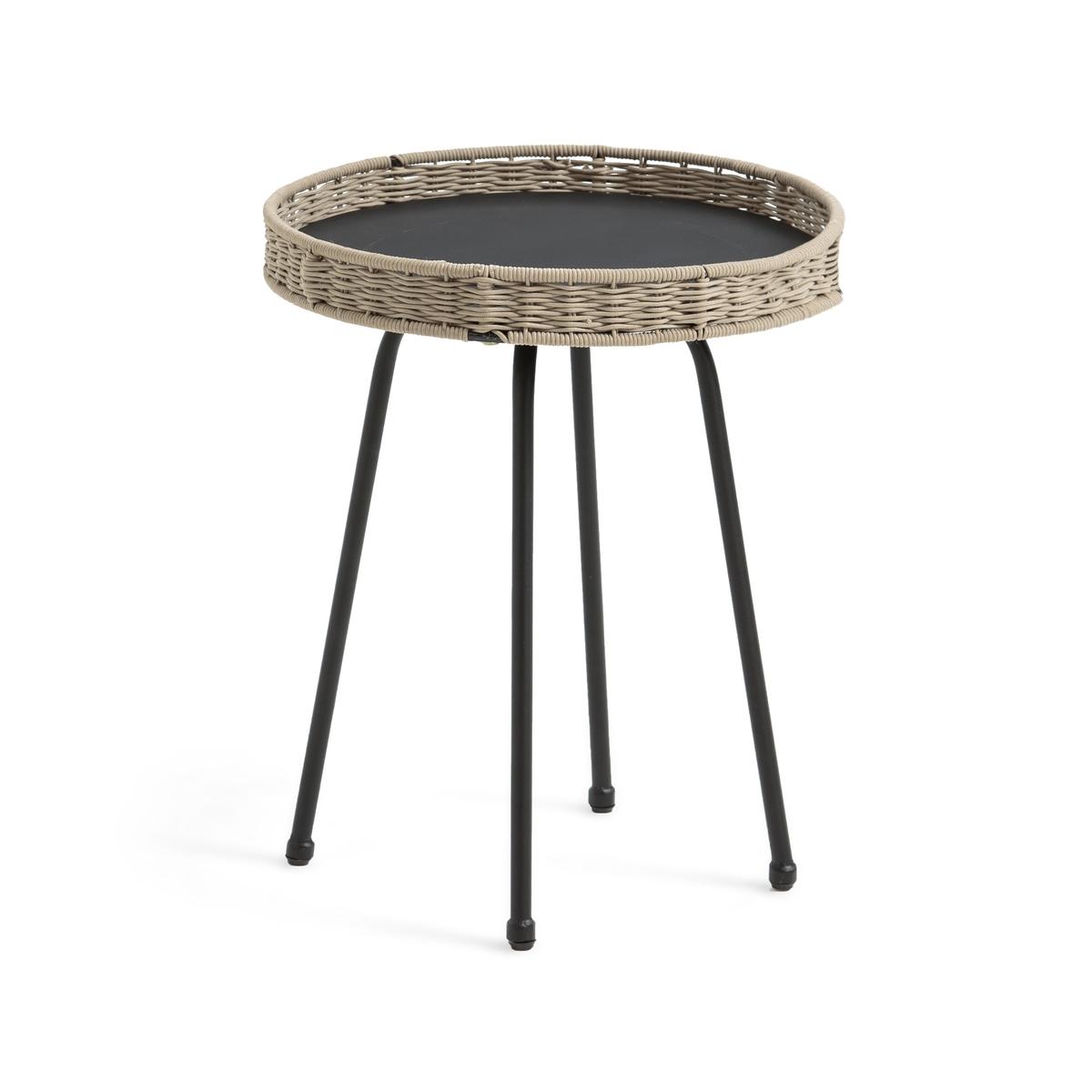 Столик LaRedoute Журнальный для сада Palma маленькая столешница единый размер серый