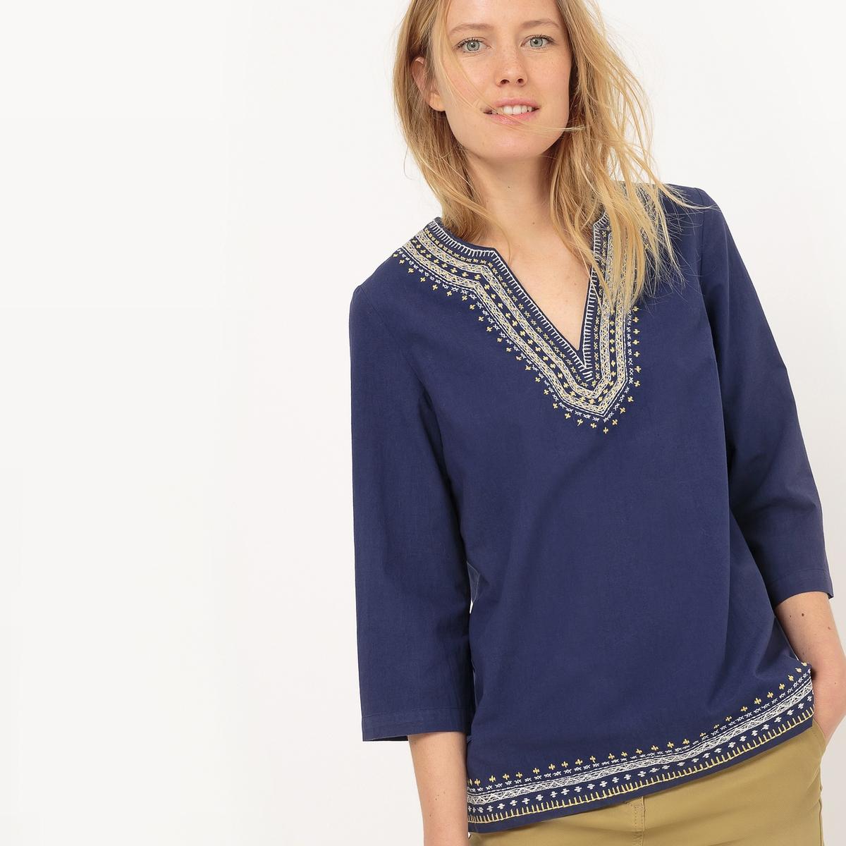 Блузка с тунисским воротом с вышивкой и рукавами 3/4 от atelier R