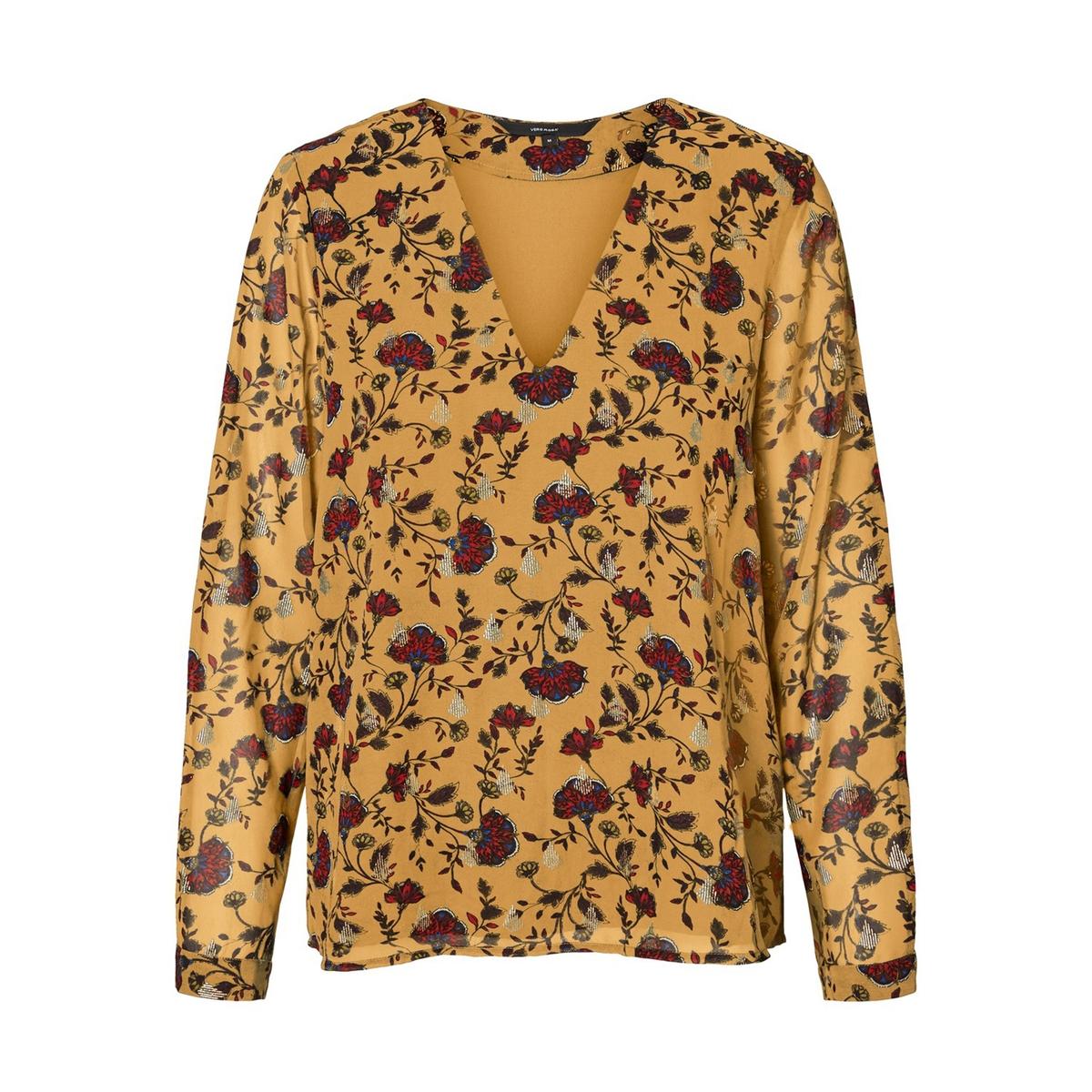 Блузка La Redoute С V-образным вырезом с цветочным принтом XS каштановый цена 2017