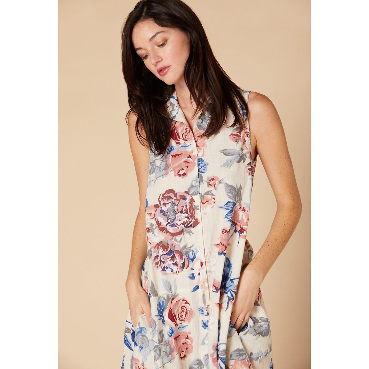 Платье La Redoute С цветочным рисунком и завязками на поясе M белый юбка la redoute короткая расклешенная с цветочным рисунком и оборками на поясе xs бежевый