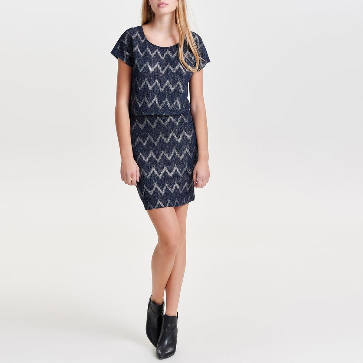 Платье  спринтом ZIVA DRESS JRSПлатье ZIVA DRESS JRS от ONLY . Платье прямого покроя. Короткие рукава. Круглый вырез. Геометрический зигзагообразный принт золотистого цвета. Состав и описание :Материал : 92% полиамида, 8% эластана. Марка : ONLY.<br><br>Цвет: темно-синий,черный