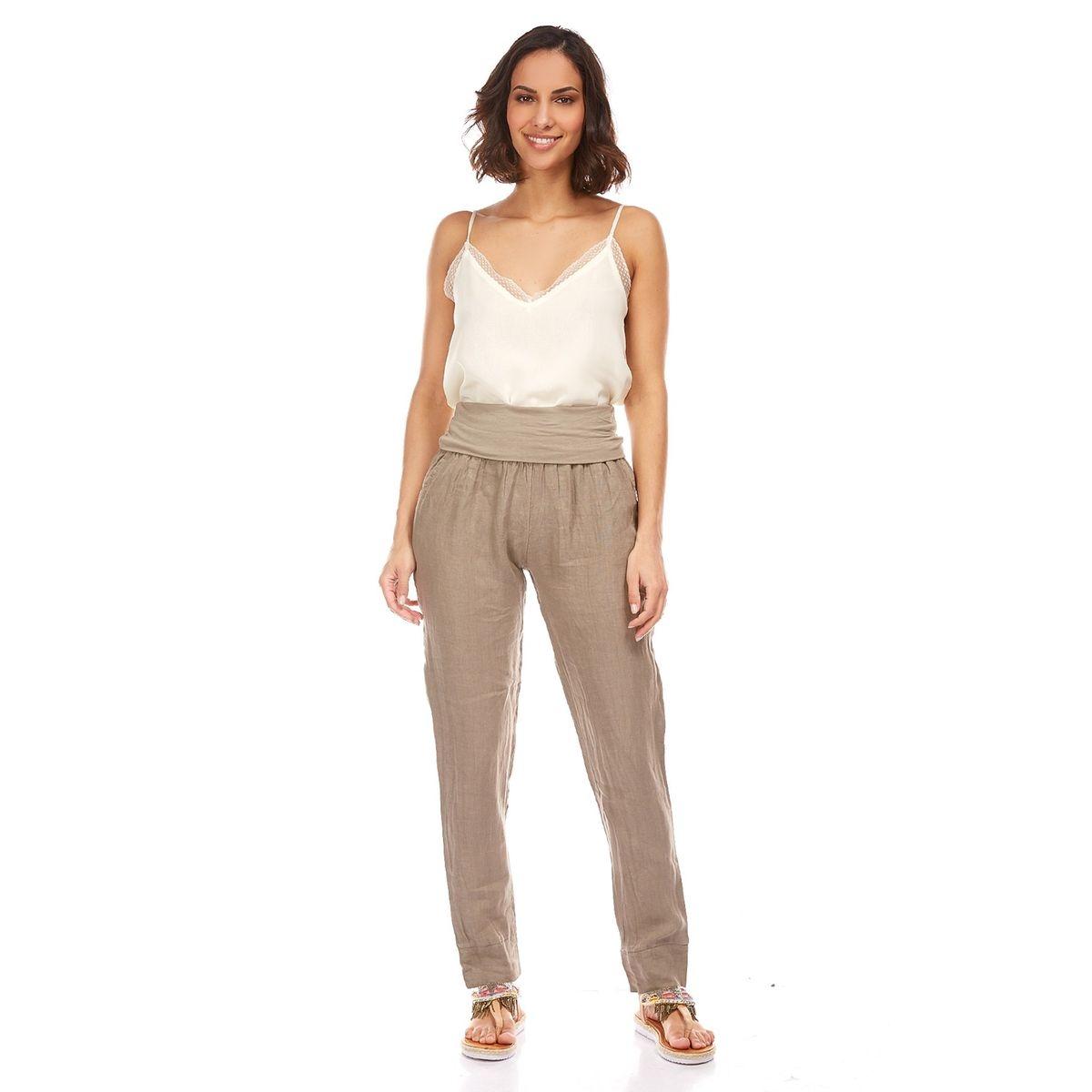 Pantalon resséré à la taille le monde du lin