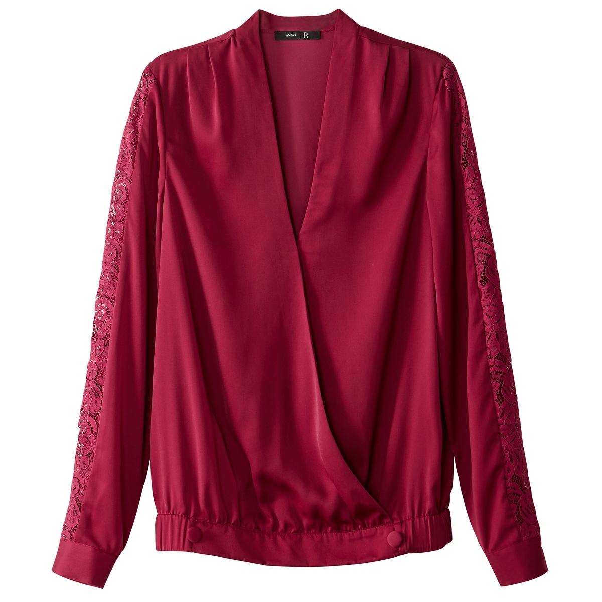 Блузка с запахом из сатина и кружева