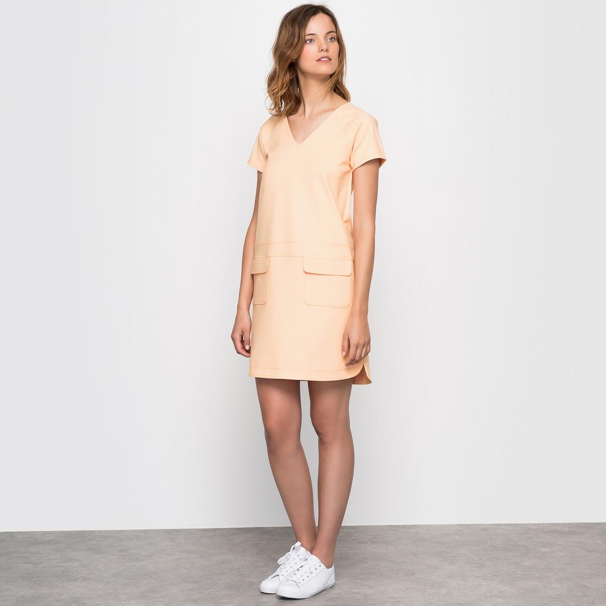 Платье-трапецияПлатье покроя трапеция. Очаровательное и удобное при носке  . Короткие рукава реглан, V-образный вырез, вставка на уровне пояса, 2 накладных кармана с клапанами спереди  . Низ, как у рубашки, закругленные по бокам вырезы, спинка немного длиннее . Состав и описание :Материал : трикотаж милано 45% полиэстера, 51% хлопка, 4% эластана Длина : 92 смМарка : Mademoiselle R УходМашинная стирка при 30°<br><br>Цвет: светло-оранжевый,черный<br>Размер: 38 (FR) - 44 (RUS).34 (FR) - 40 (RUS).34 (FR) - 40 (RUS).36 (FR) - 42 (RUS).36 (FR) - 42 (RUS)