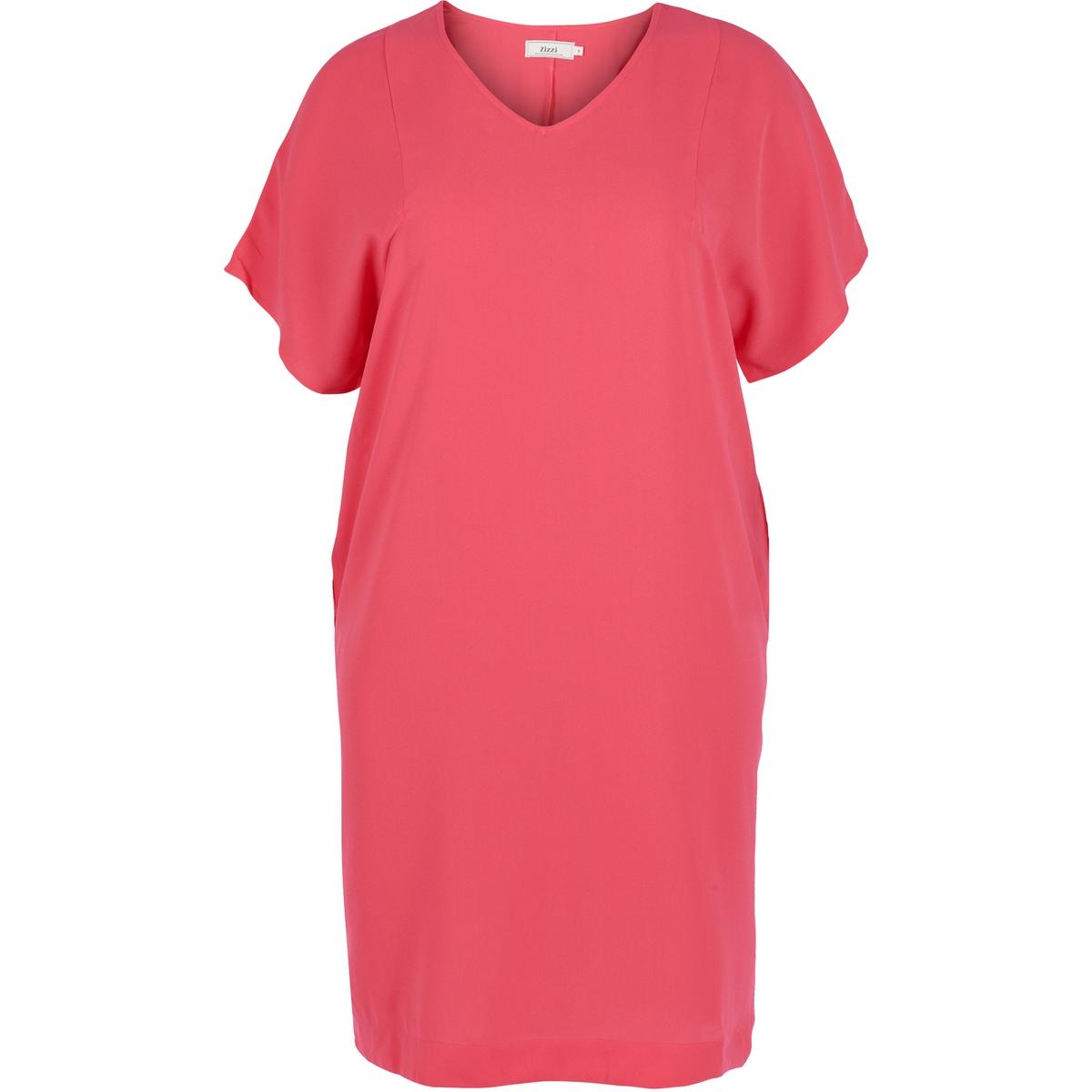 ПлатьеУдобное и мягкое платье . Небольшие шлицы по бокам и потайные карманы . Красивые короткие рукава и V-образный вырез . Длина немного выше колена .<br><br>Цвет: красный<br>Размер: 46/48 (FR) - 52/54 (RUS)