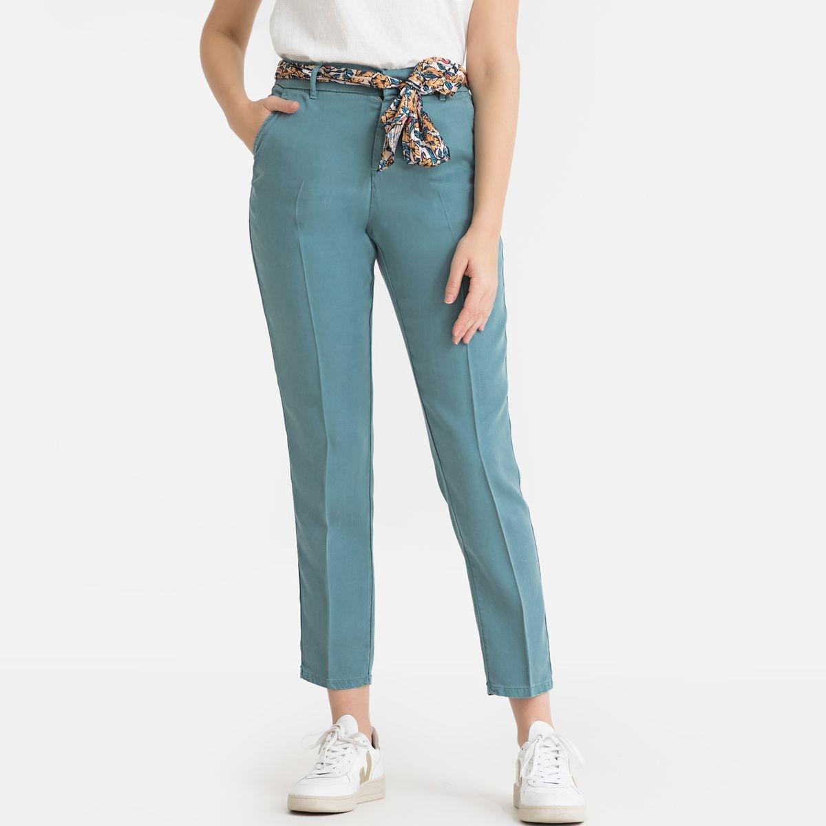 Pantalon droit ceinture foulard