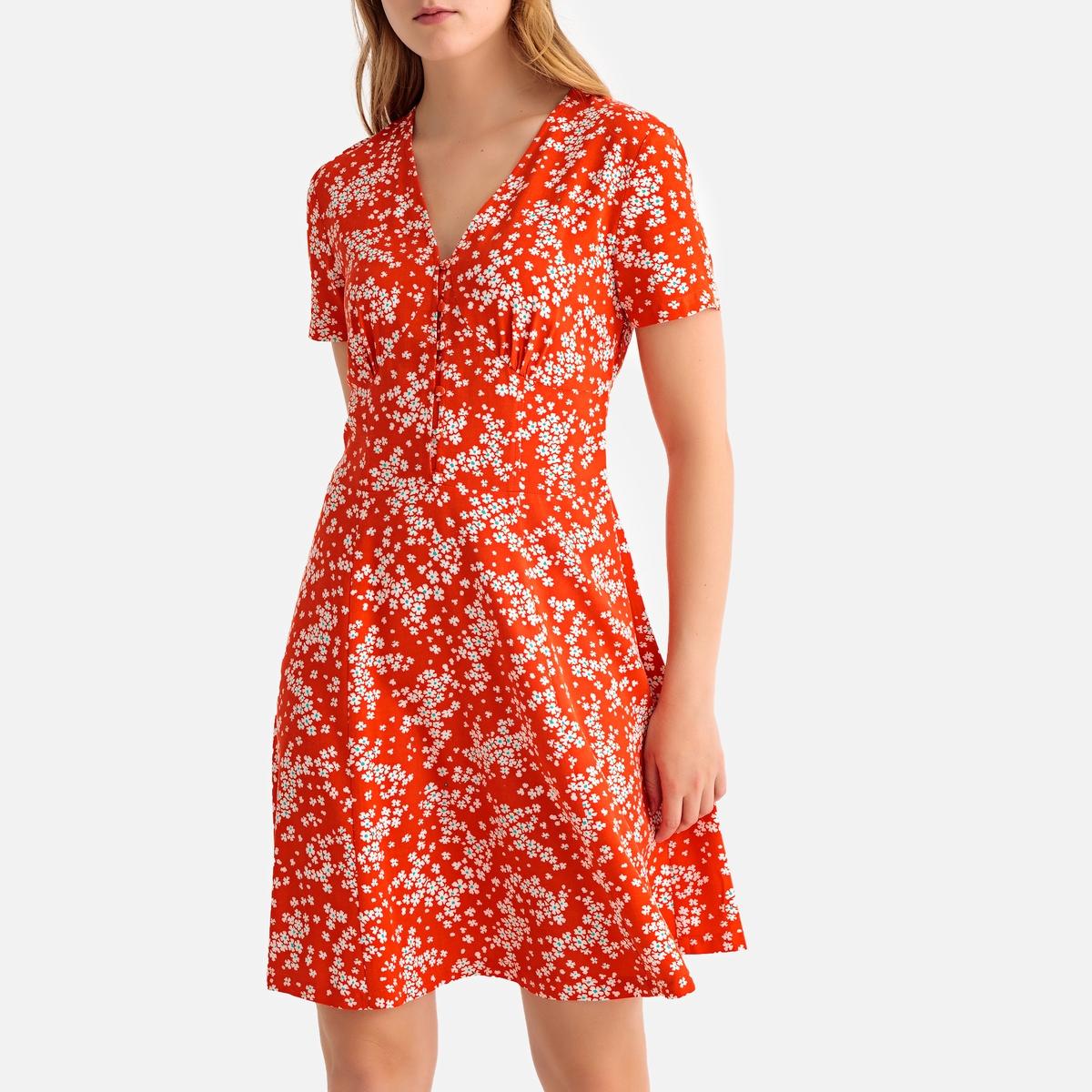Платье La Redoute Короткое расклешенное с короткими рукавами 46 (FR) - 52 (RUS) красный платье миди la redoute расклешенное с короткими рукавами 42 fr 48 rus красный