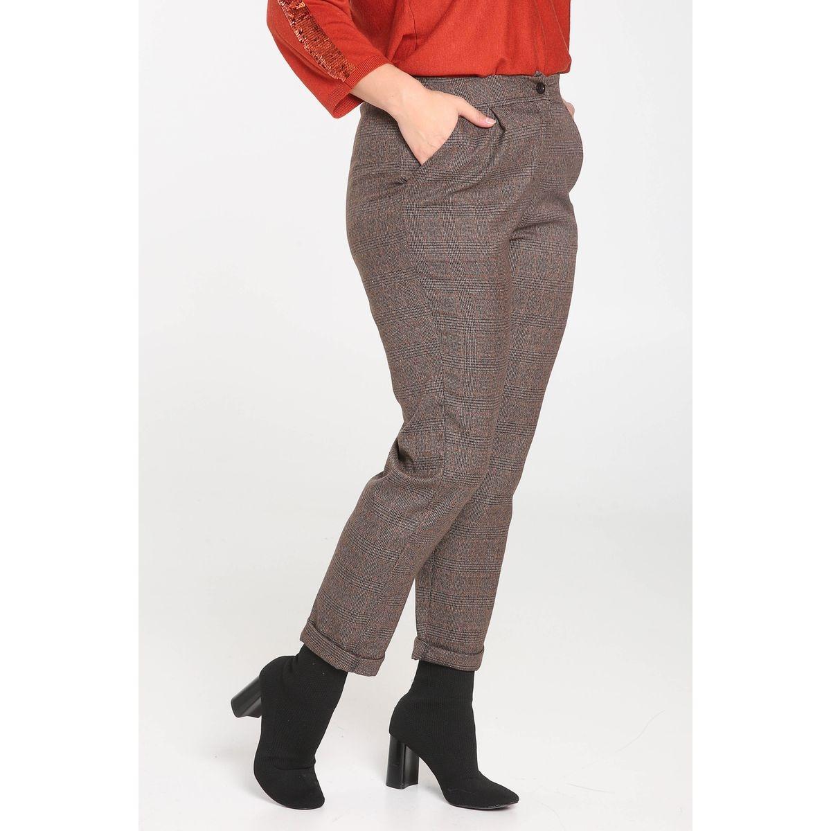 Pantalon de ville imprimé carreaux taille élastiquée