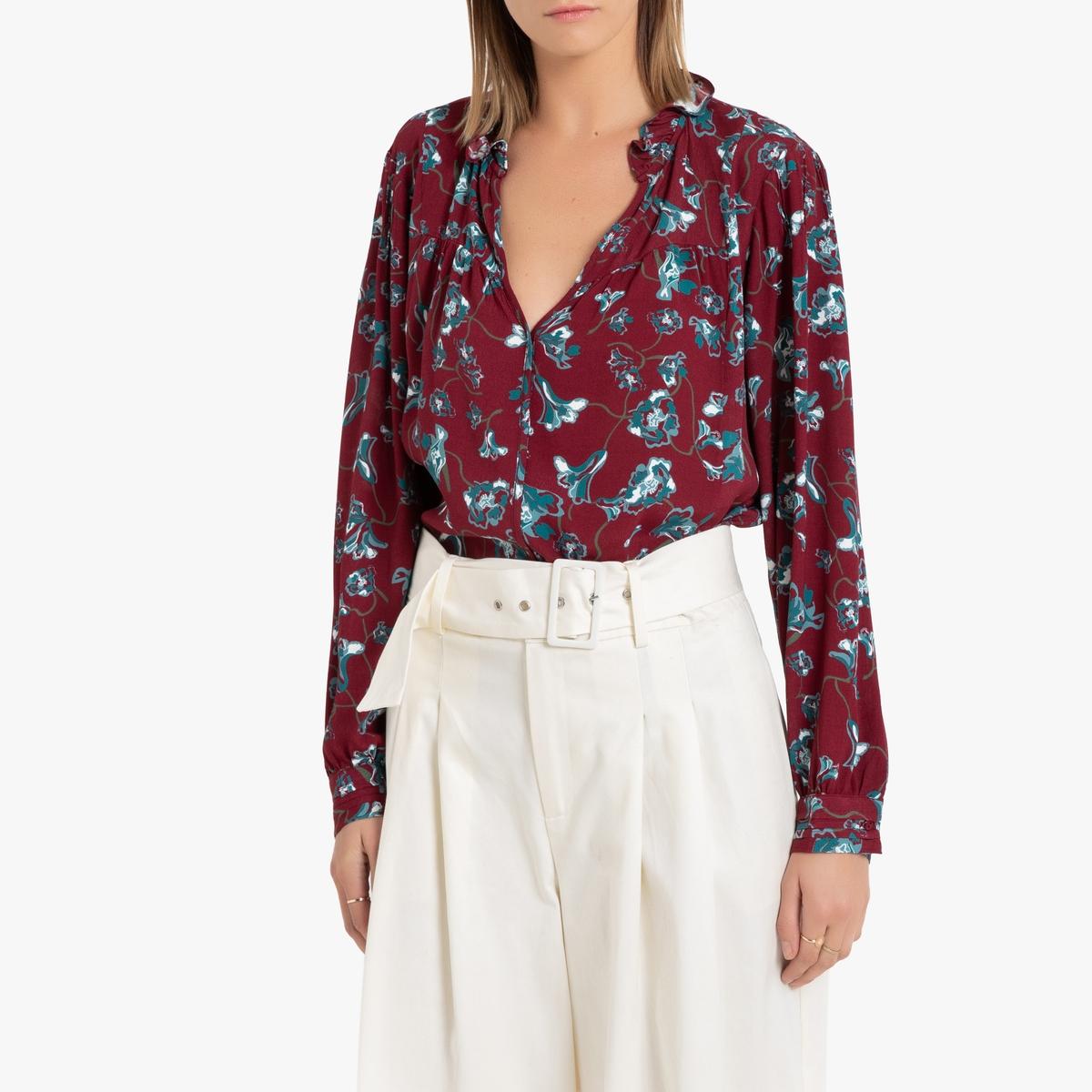 Блузка La Redoute С длинными рукавами и цветочным рисунком 1(S) красный блуза la redoute с рисунком и длинными рукавами s синий
