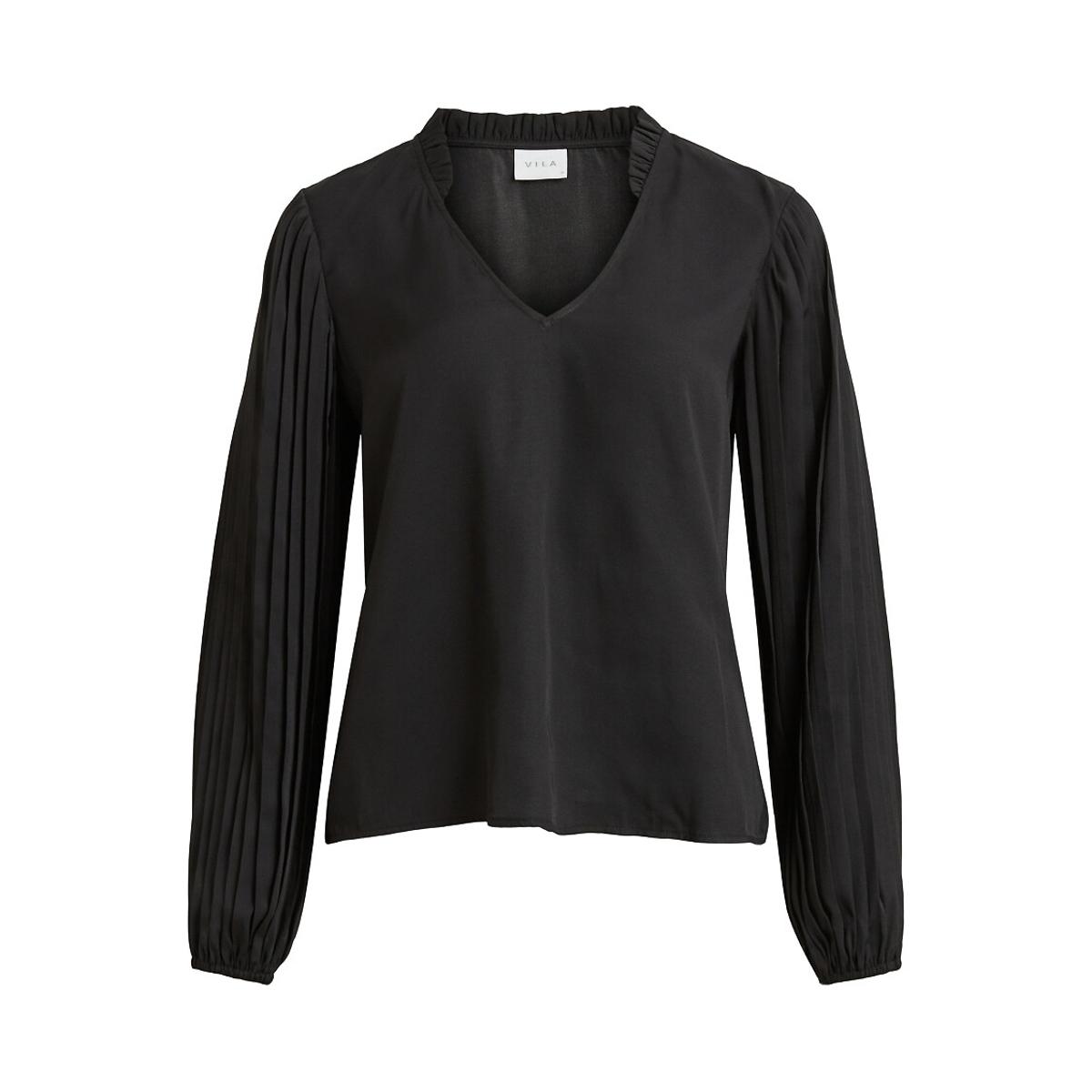 Фото - Блузка LaRedoute Струящаяся с V-образным вырезом 34 (FR) - 40 (RUS) черный блузка laredoute с принтом и v образным вырезом длинные рукава xs зеленый