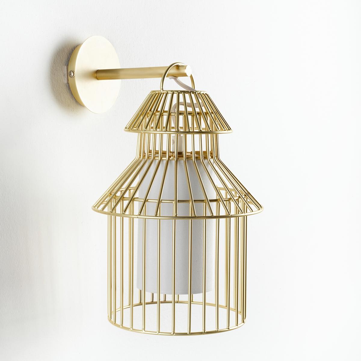 Бра в форме птичьей клетки, CuicuicuiБра Cuicuicui. Красивая птичья клетка золотистого цвета для создания мягкого освещения и поэтической нотки...Характеристики : - Проволочный каркас из металла с покрытием эпоксидной краской золотистого цвета- Оборудован защитными экранами, предохраняющими ребенка от контакта с лампой- Патрон G9 для лампы макс. 18 Вт (продается отдельно)- Совместим с лампами класса энергопотребления AРазмеры : - Ш.22 x В.33 x Г.19 см<br><br>Цвет: металл<br>Размер: единый размер