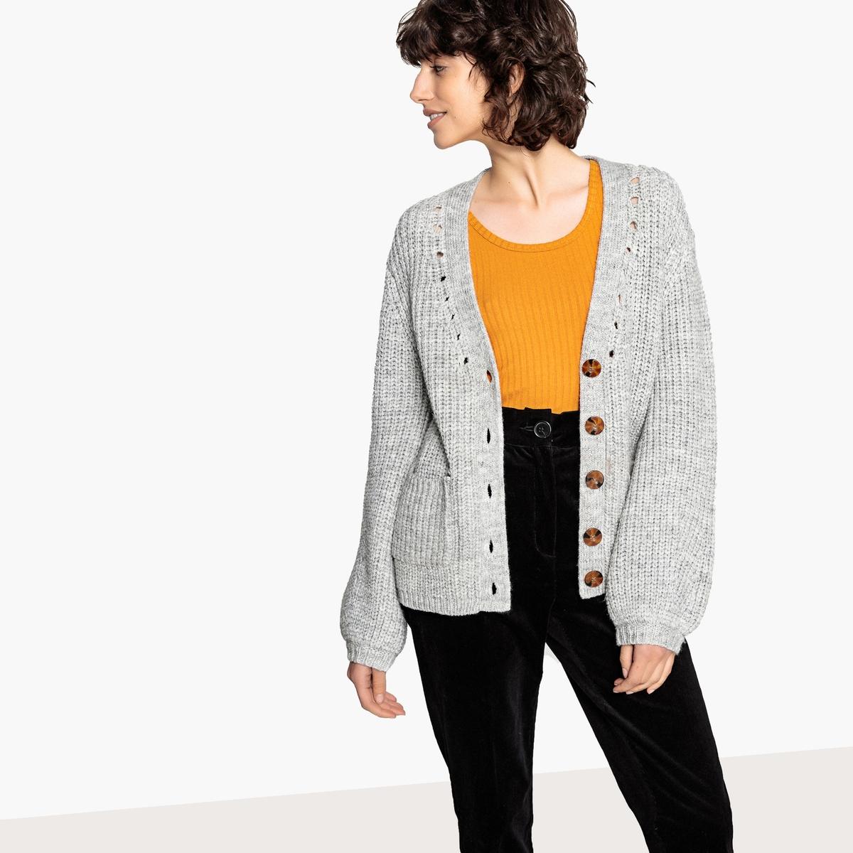 Кардиган из плотного трикотажа с рукавами с напуском пуловер из плотного трикотажа с v образным вырезом