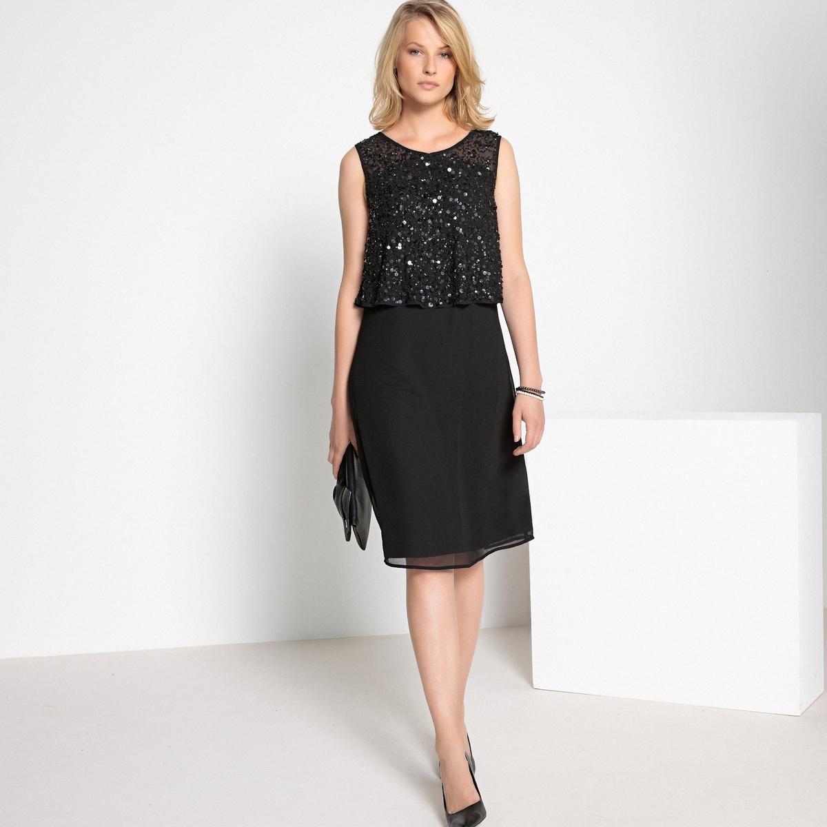 Платье La Redoute Прямое с пайетками без рукавов 38 (FR) - 44 (RUS) черный