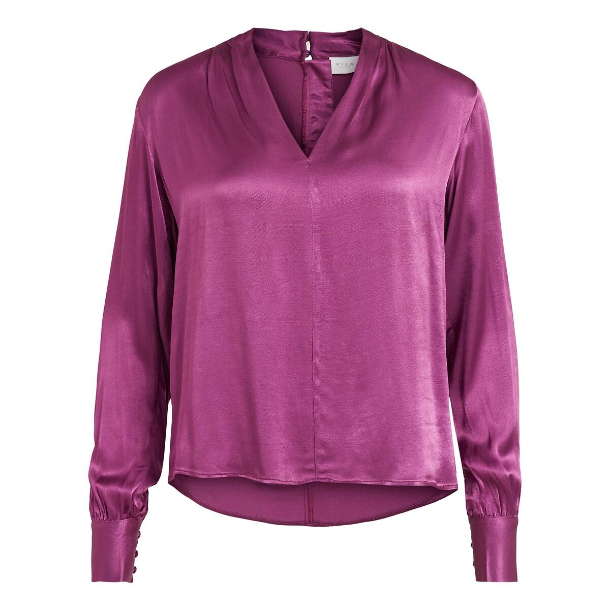 Блуза LaRedoute Атласная с V-образным вырезом 40 (FR) - 46 (RUS) розовый рубашка laredoute ночная с v образным вырезом цветочный принт 38 40 fr 44 46 rus синий