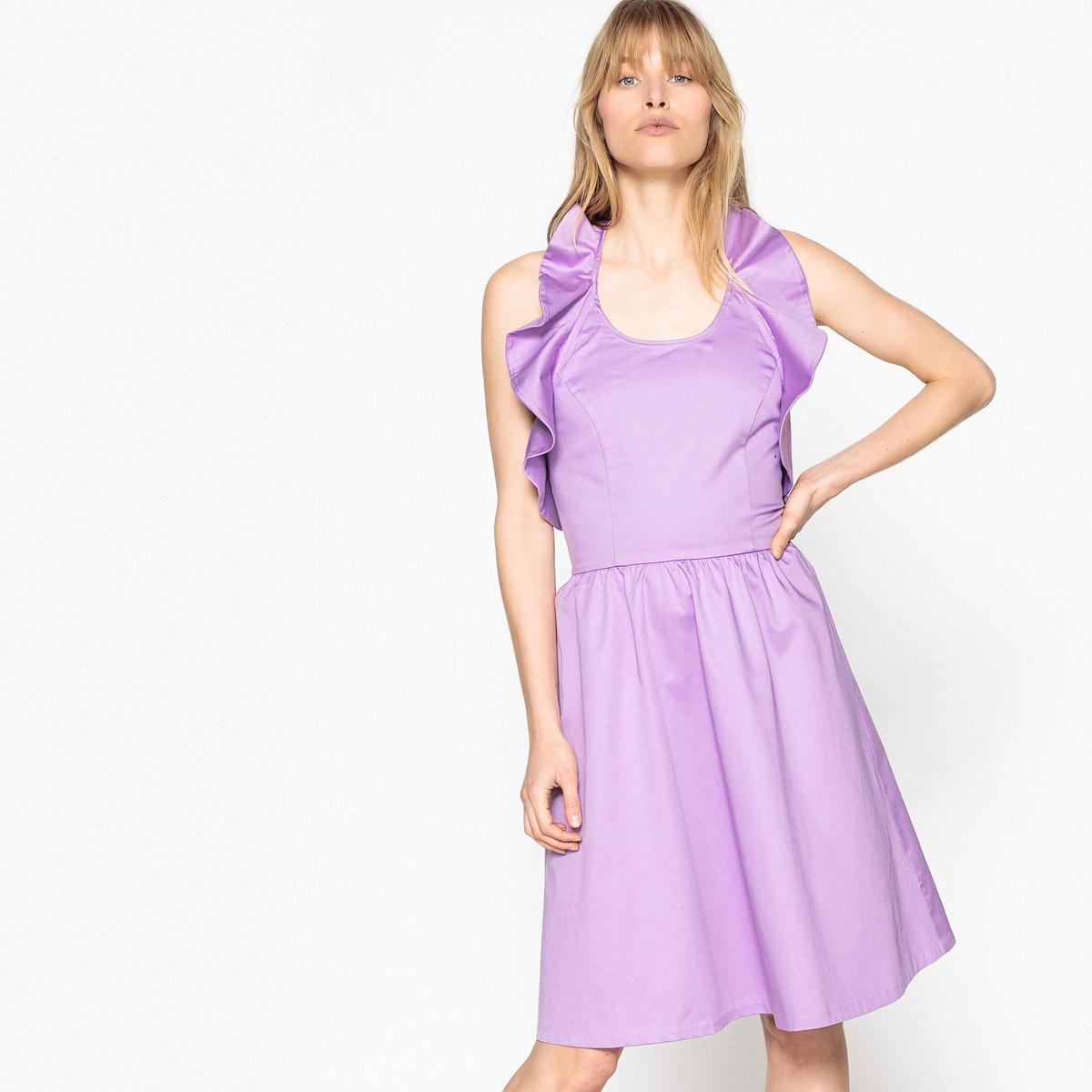 Платье La Redoute Расклешенное с открытой спинкой и воланами 34 (FR) - 40 (RUS) розовый candy girl платье голубое с открытой спинкой