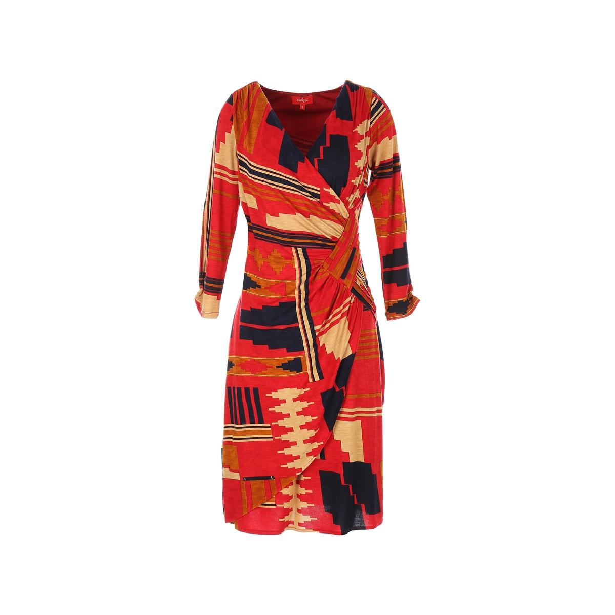 Платье средней длины с запахом и рисункомОписание:Детали •  Форма : с запахом  •  Длина до колен •  Длинные рукава    •   V-образный вырез •  Рисунок-принтСостав и уход •  97% вискозы, 3% эластана •  Подкладка  : 100% полиэстер •  Следуйте советам по уходу, указанным на этикетке<br><br>Цвет: красный/ оранжевый<br>Размер: M