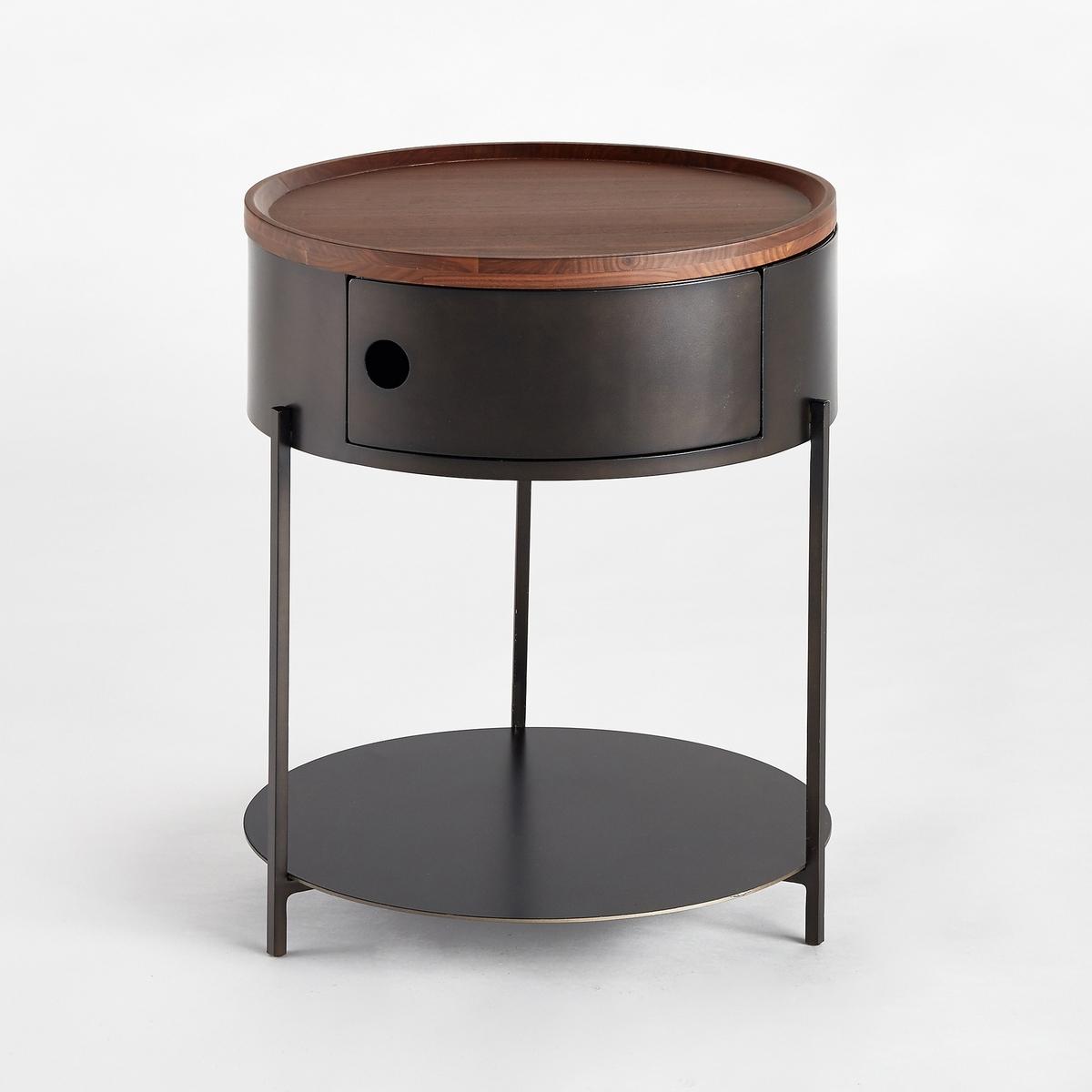 Ночной столик из массива орехового дерева, TalbingoХарактеристики :- Каркас из металла с эффектом старения, покрытие эпоксидным лаком. - Столешница из металла и съемная столешница из массива орехового дерева с покрытием нитролаком. - 1 двусторонняя дверца для открывания влево и вправо с магнитной защелкой. Размеры :- диаметр 40 x 50 см.<br><br>Цвет: черный