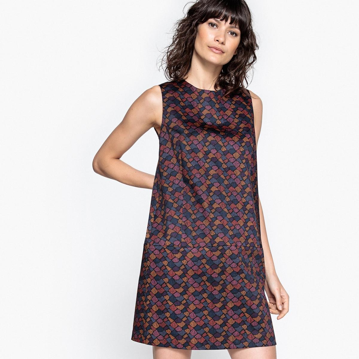 Платье прямое из хлопка с разноцветным рисунком