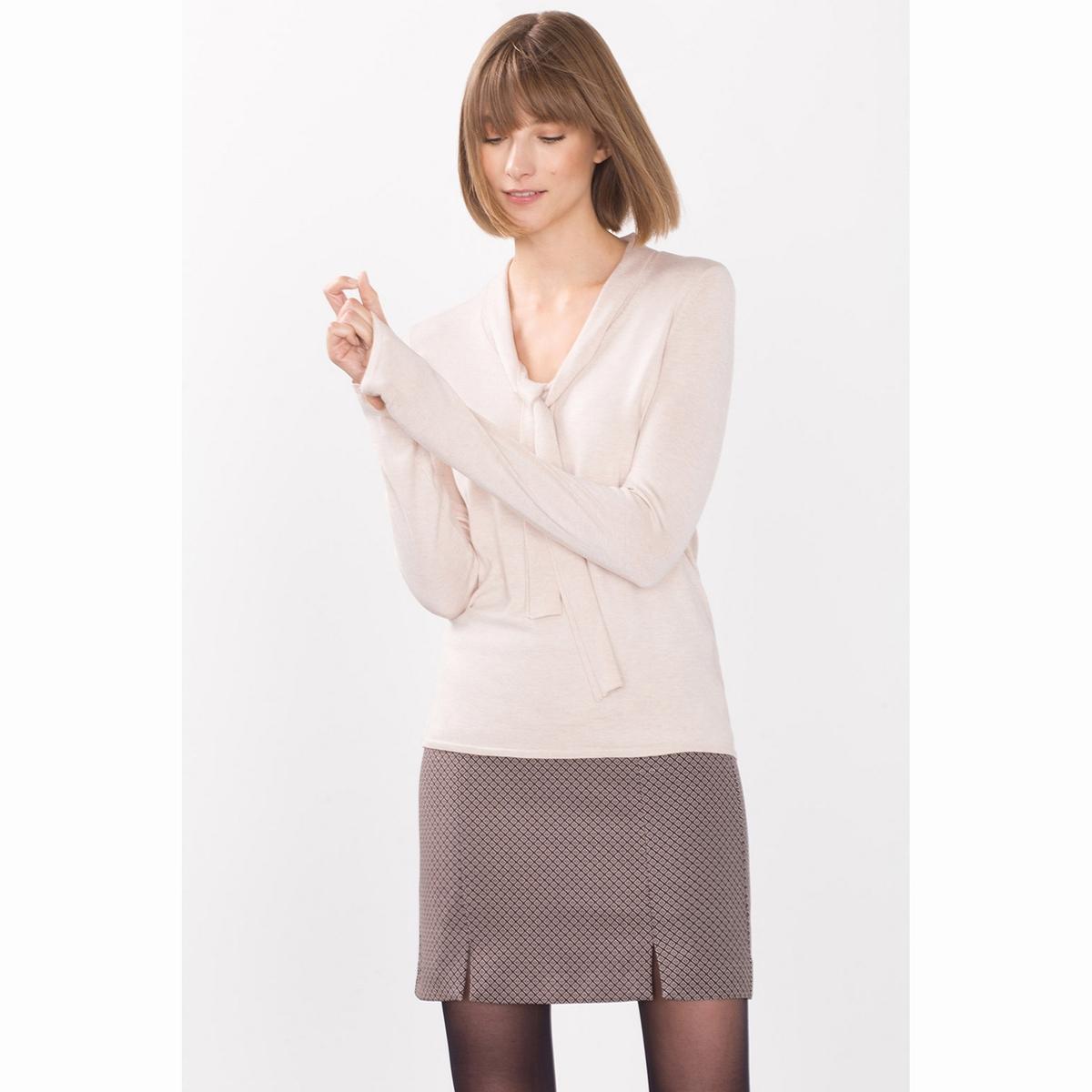 Пуловер с воротником-галстуком. футболка мужская esprit 025ee2k027c 15 259