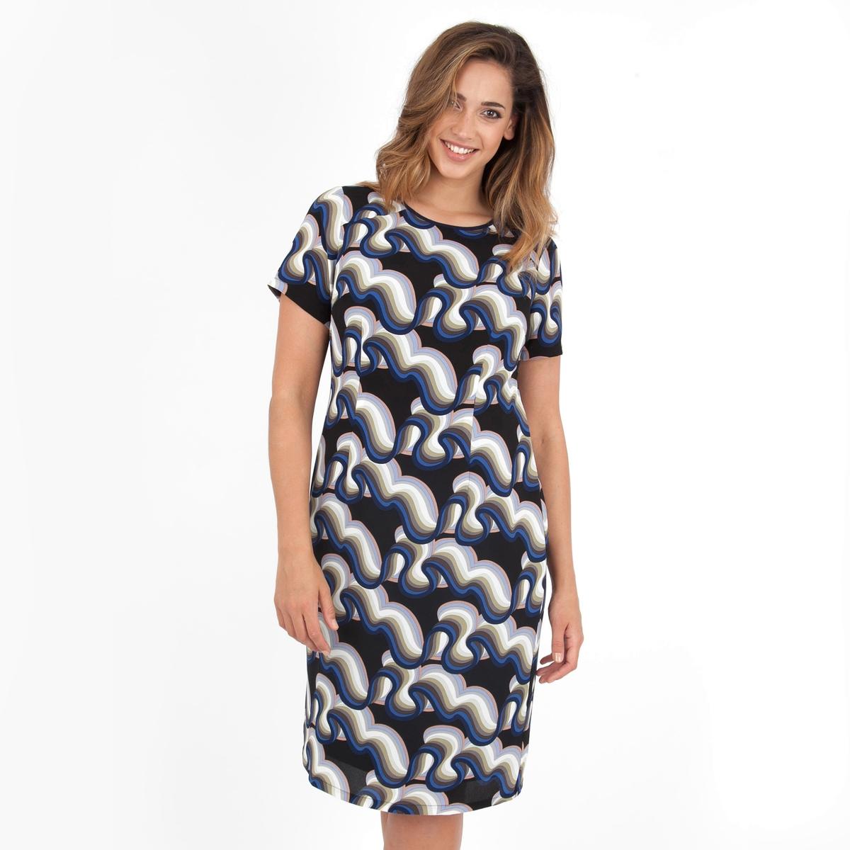 ПлатьеПлатье с короткими рукавами - LOVEDROBE. Круглый вырез. Длина ок.104 см. 100% полиэстера.<br><br>Цвет: набивной рисунок<br>Размер: 50/52 (FR) - 56/58 (RUS)