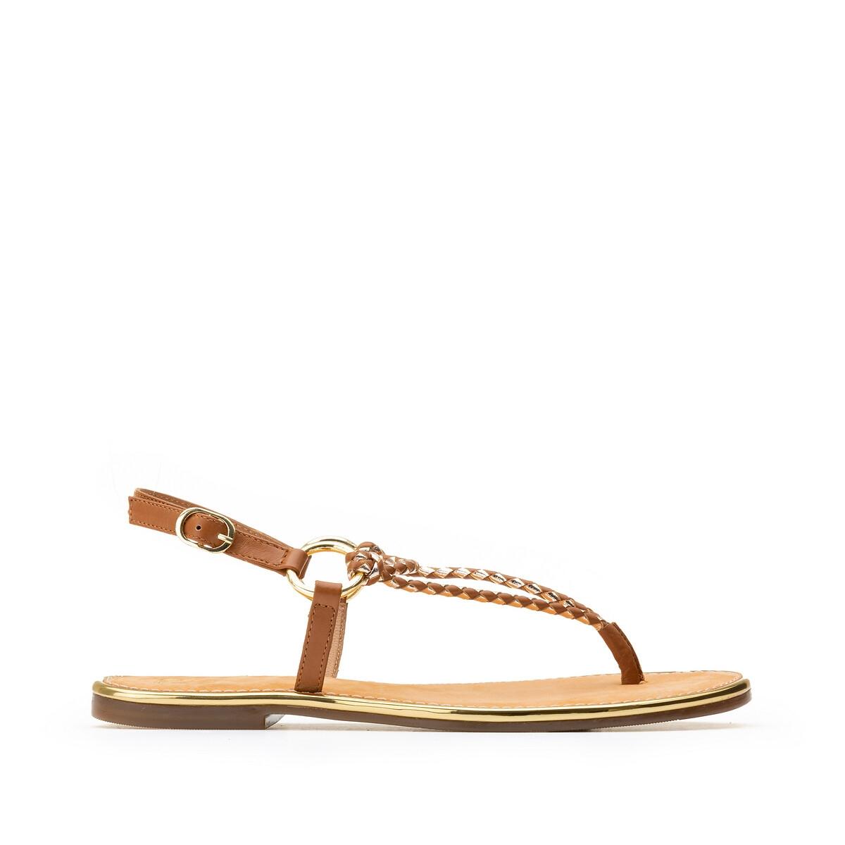 Sandalias de piel con suela plana