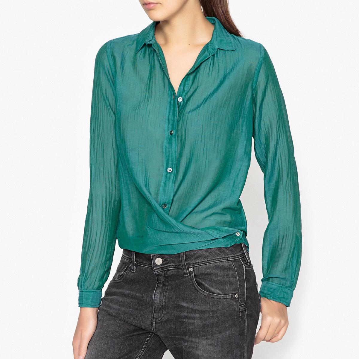 Рубашка из шелка и хлопкаРубашка с длинными рукавами из шелка и хлопка POMANDERE.Детали •  Длинные рукава  •  Приталенный покрой  •   V-образный вырезСостав и уход •  30% шелка, 70% хлопка  •  Следуйте советам по уходу, указанным на этикетке<br><br>Цвет: зеленый<br>Размер: 40 (FR) - 46 (RUS)