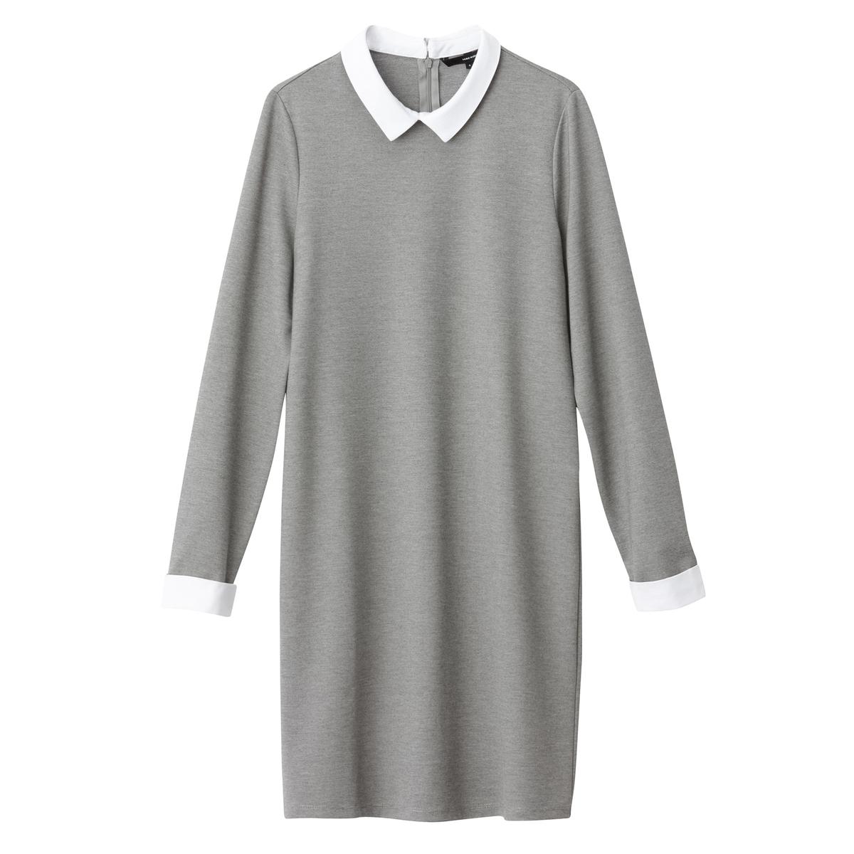 Платье прямое однотонное, средней длины, с длинными рукавамиДетали •  Форма : прямая •  Длина до колен •  Длинные рукава    •  Воротник-поло, рубашечный Состав и уход 30% вискозы, 5% эластана, 65% полиэстера •  Следуйте рекомендациям по уходу, указанным на этикетке изделия<br><br>Цвет: темно-синий<br>Размер: XS