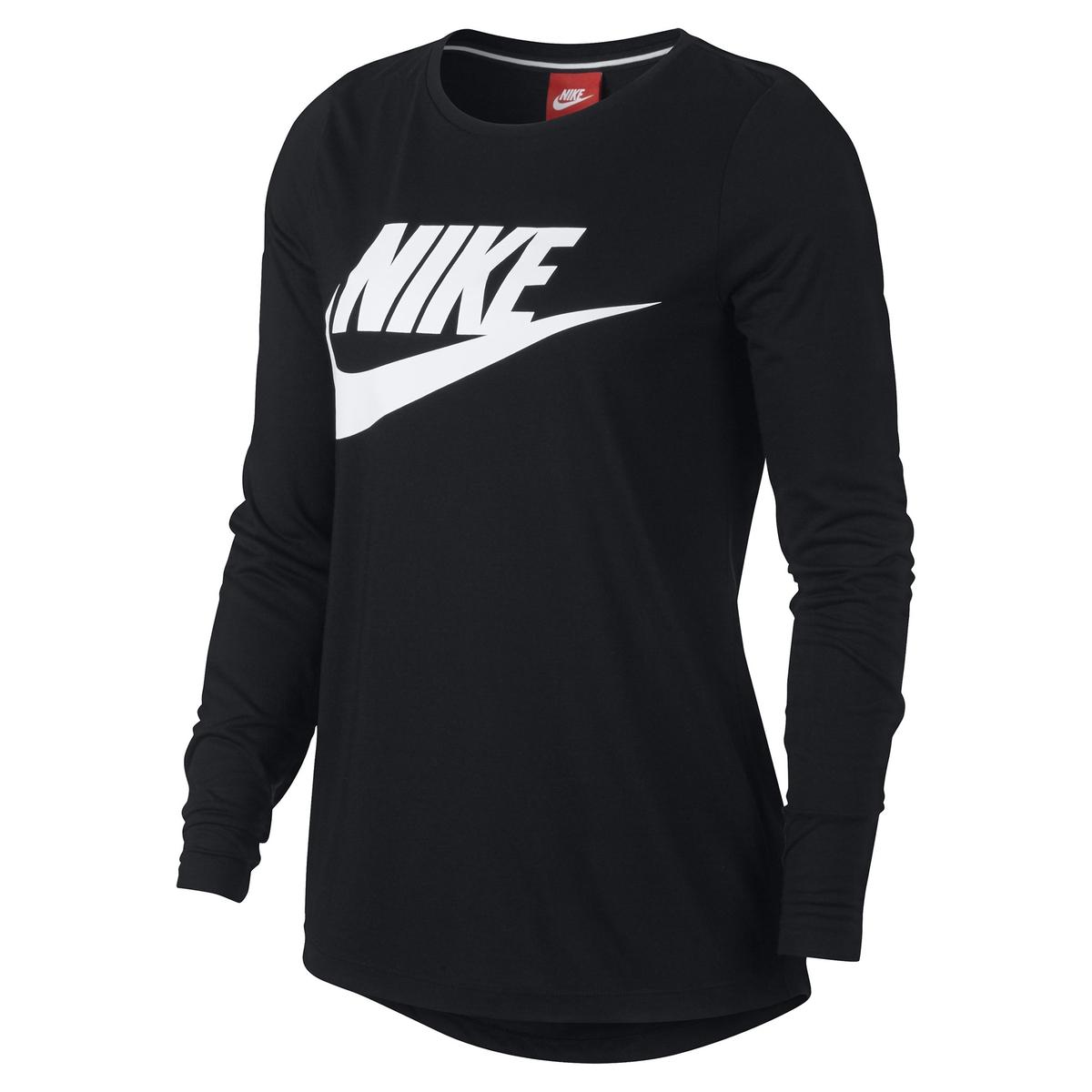 Camiseta de manga larga con cuello redondo y logotipo Sportswear