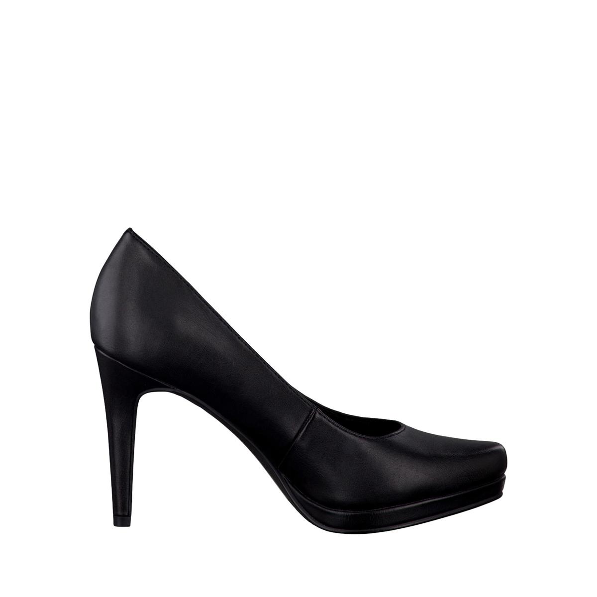 Туфли на шпильке  22448-37Верх/Голенище : синтетика  Подкладка : Текстиль  Стелька : синтетика  Подошва : синтетика  Высота каблука : 9,5 см.  Форма каблука : шпилька.  Мысок : закругленный.  Застежка : без застежки<br><br>Цвет: черный