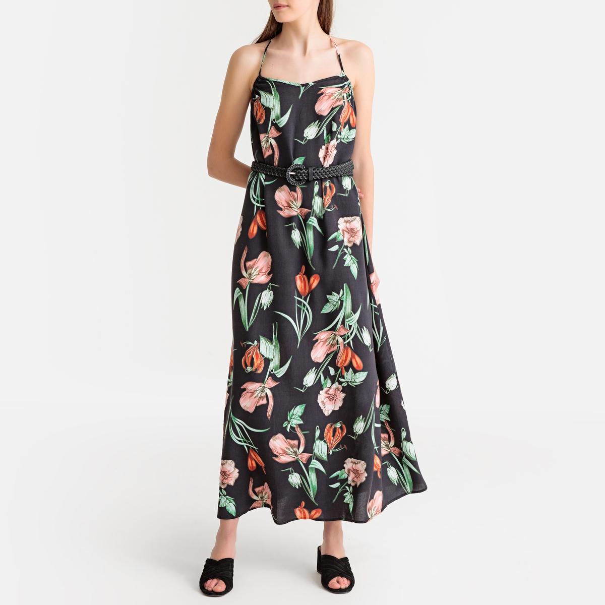 Платье La Redoute Длинное расклешенное с цветочным рисунком S черный