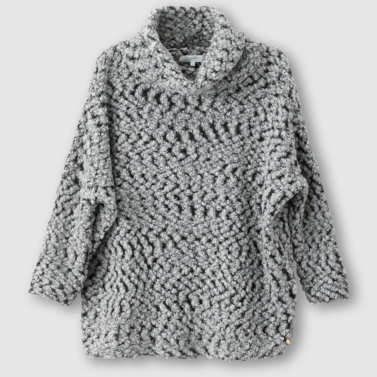Пуловер с отворачивающимся воротником ETROHПуловер с длинными рукавами  ETHRO от JOE RETRO . Пуловер комфортного прямого покроя. Отворачивающийся воротник. Трикотаж крупной вязки. Состав и описание :Материал : 43% полиамида, 35% акрила, 11% шерсти, 11% мохера Марка : JOE RETRO<br><br>Цвет: серый