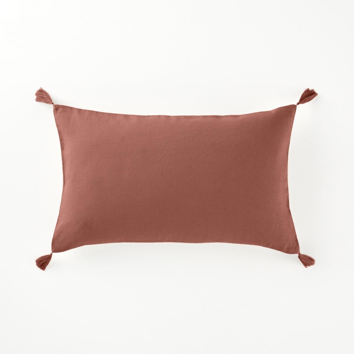 наволочки на подушку и наволочка на подушку валик из хлопка richmond Наволочка LaRedoute На подушку-валик из льна и вискозы ODORIE 50 x 30 см каштановый