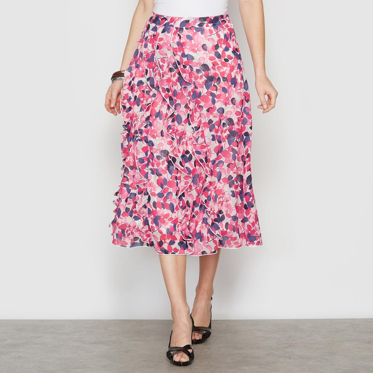 Юбка расклешенная, крепРасклешенная, очень женственная юбка. Отрезные детали в сочетании с воланами спереди. Пояс. Начиная с 44 размера, пояс на резинке. Застежка на скрытую молнию сбоку. На трикотажной подкладке из полиэстера. Длина. 75 см. Креп, 100% полиэстера.<br><br>Цвет: белый<br>Размер: 48 (FR) - 54 (RUS).42 (FR) - 48 (RUS).46 (FR) - 52 (RUS)