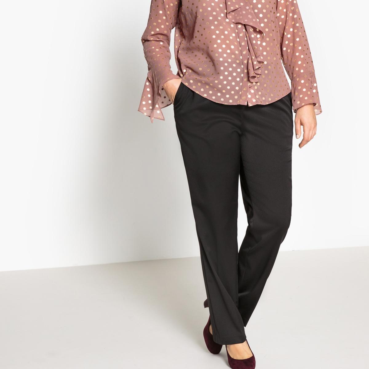 Брюки прямыеОписание:Роскошные прямые брюки из сатина. В сочетании с блузкой или топом эти брюки  из сатина будут идеальны для вечеринки. Детали •  Прямой покрой •  Стандартная высота поясаСостав и уход •  33% вискозы, 3% эластана, 64% полиэстера •  Температура стирки при 30° на деликатном режиме  •  Сухая чистка и отбеливание запрещены • Барабанная сушка на слабом режиме   •  Низкая температура глажки Товар из коллекции больших размеров •  Длина по внутр.шву 80 см, ширина по низу 23,5 см<br><br>Цвет: черный<br>Размер: 52 (FR) - 58 (RUS)