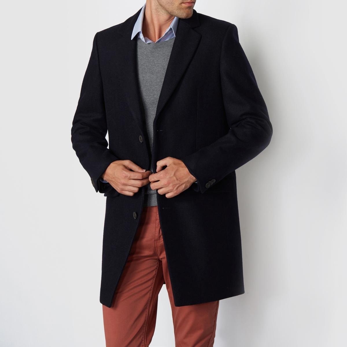 Пальто из шерстяного драпа, 66% шерстиСостав и описание:Материал: 66% шерсти, 26% полиэстера, 3% полиамида, 3% акрила, 2% вискозы.Подкладка: 100% полиэстера.Марка: R essentiel.<br><br>Цвет: темно-синий<br>Размер: 3XL.L.M