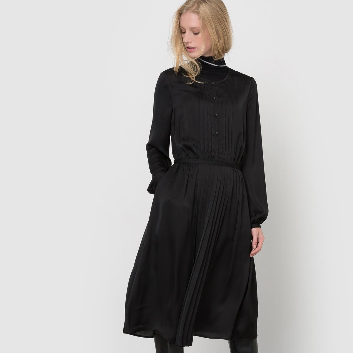 Платье плиссированное с длинными рукавами платье плиссированное с рисунком