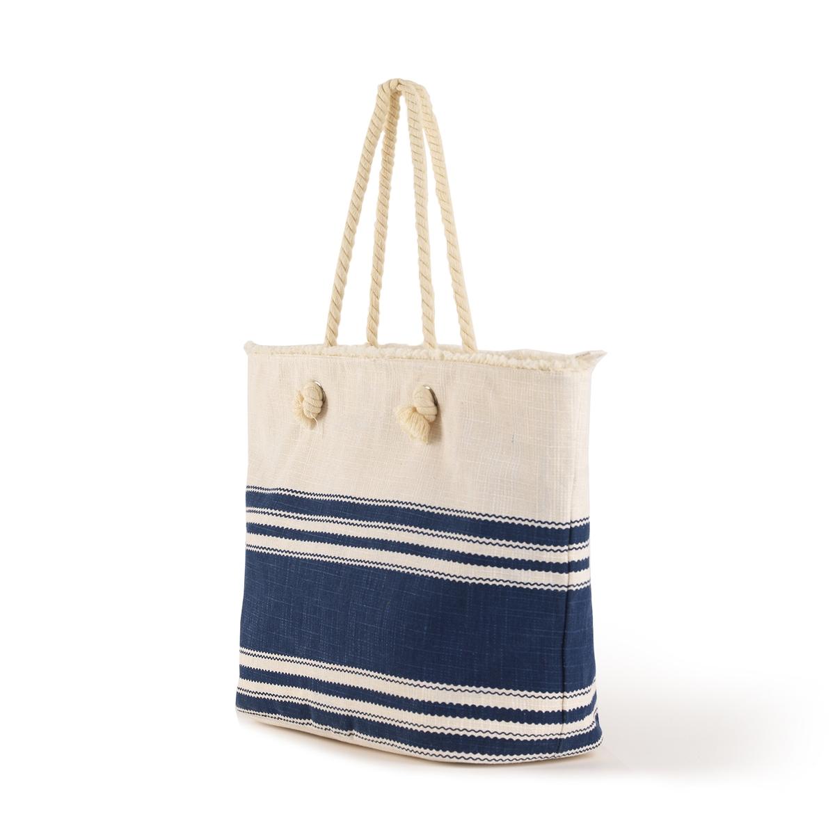 Сумка-шоппер в полоскуСумка-шоппер в полоску, Atelier R.Очень практичная сумка-шоппер, застежка на молнию, внутренние карманы, носить через плечо. Состав и описаниеМатериал : верх из синтетики                 подкладка из текстиляМарка : Atelier RРазмеры : В.35 x Ш.54 x Г.19 смЗастежка : Застежка на молнию1 карман на молнии и 2 кармана для мобильного телефона.<br><br>Цвет: синий