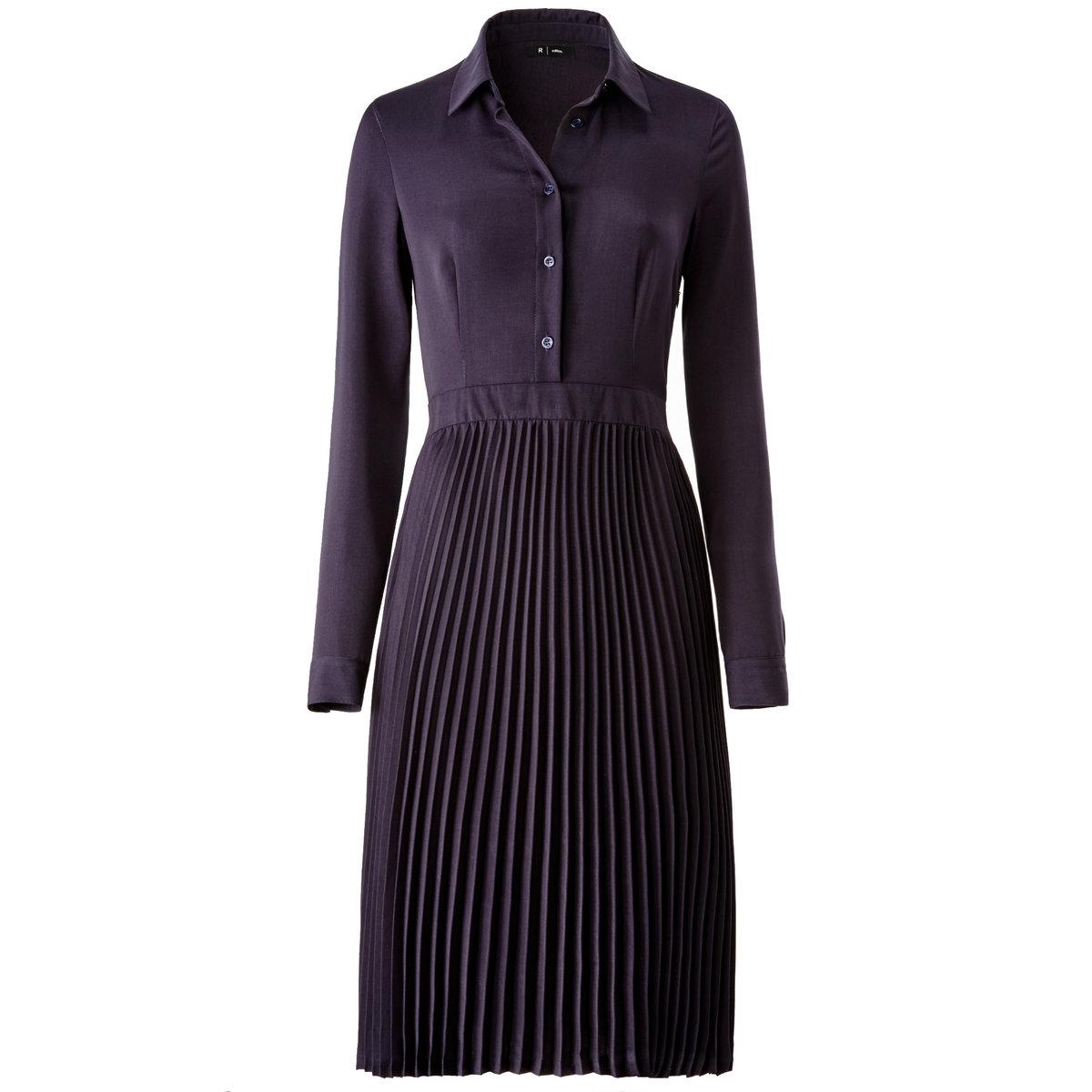 Платье со складками и длинным рукавомПлатье со складками. 100% полиэстер. Рубашечный воротник. Длинные рукава. Длина 110 см.<br><br>Цвет: синий морской<br>Размер: 44 (FR) - 50 (RUS)