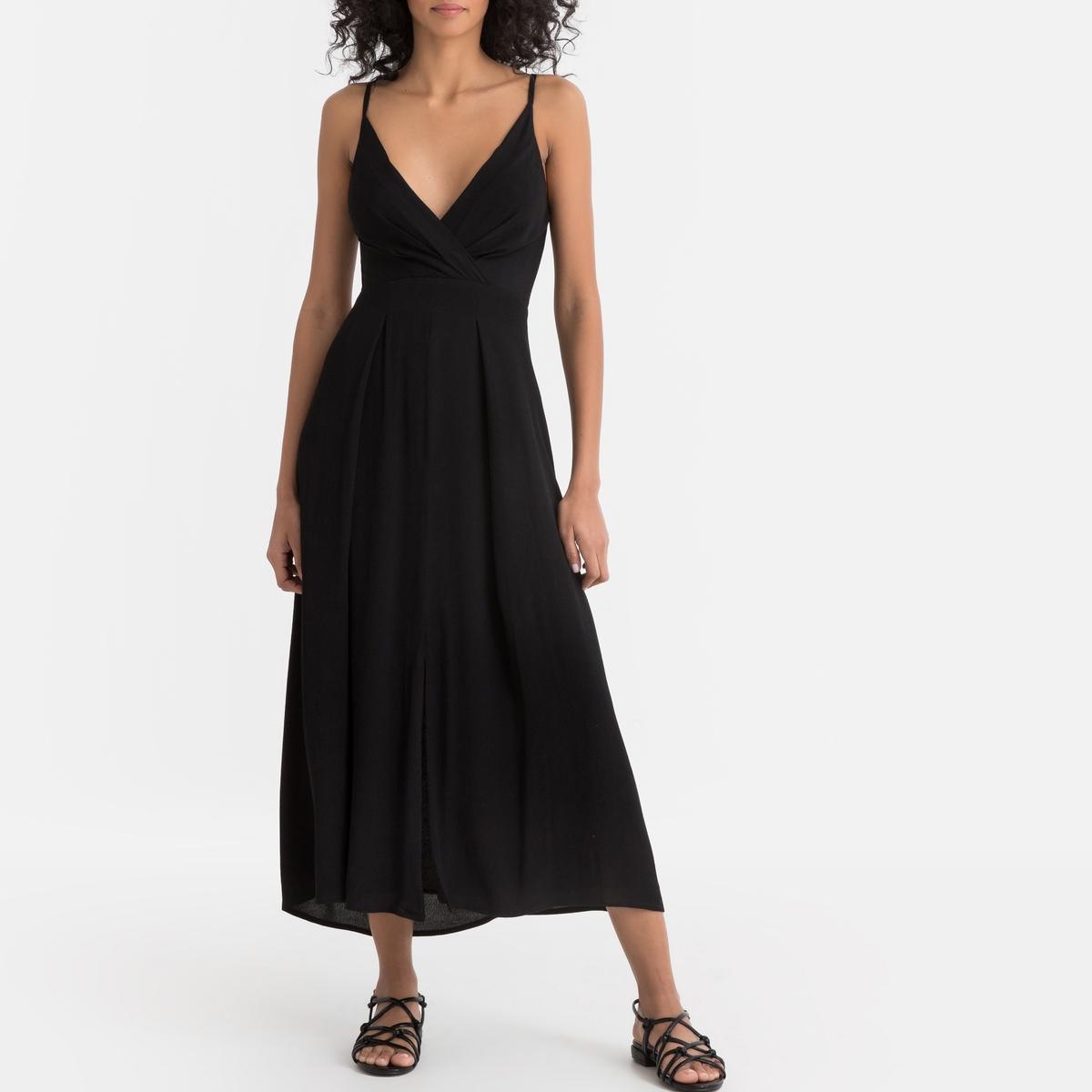 Платье La Redoute Длинное на тонких бретелях с бантом и открытой спинкой M черный candy girl платье голубое с открытой спинкой