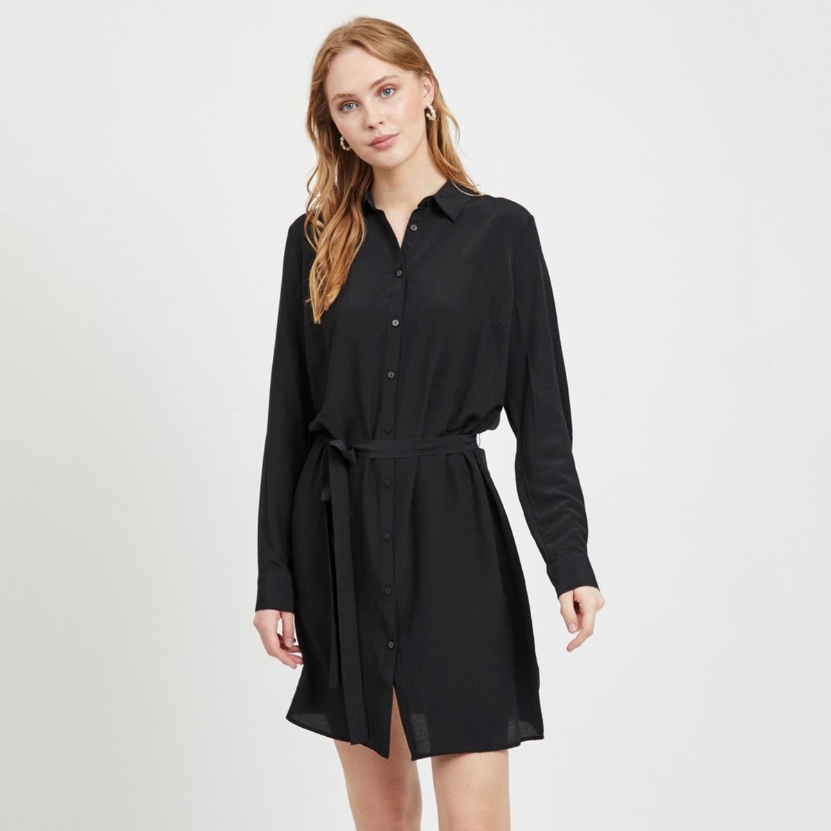 Платье-рубашка La Redoute Укороченное 38 (FR) - 44 (RUS) черный