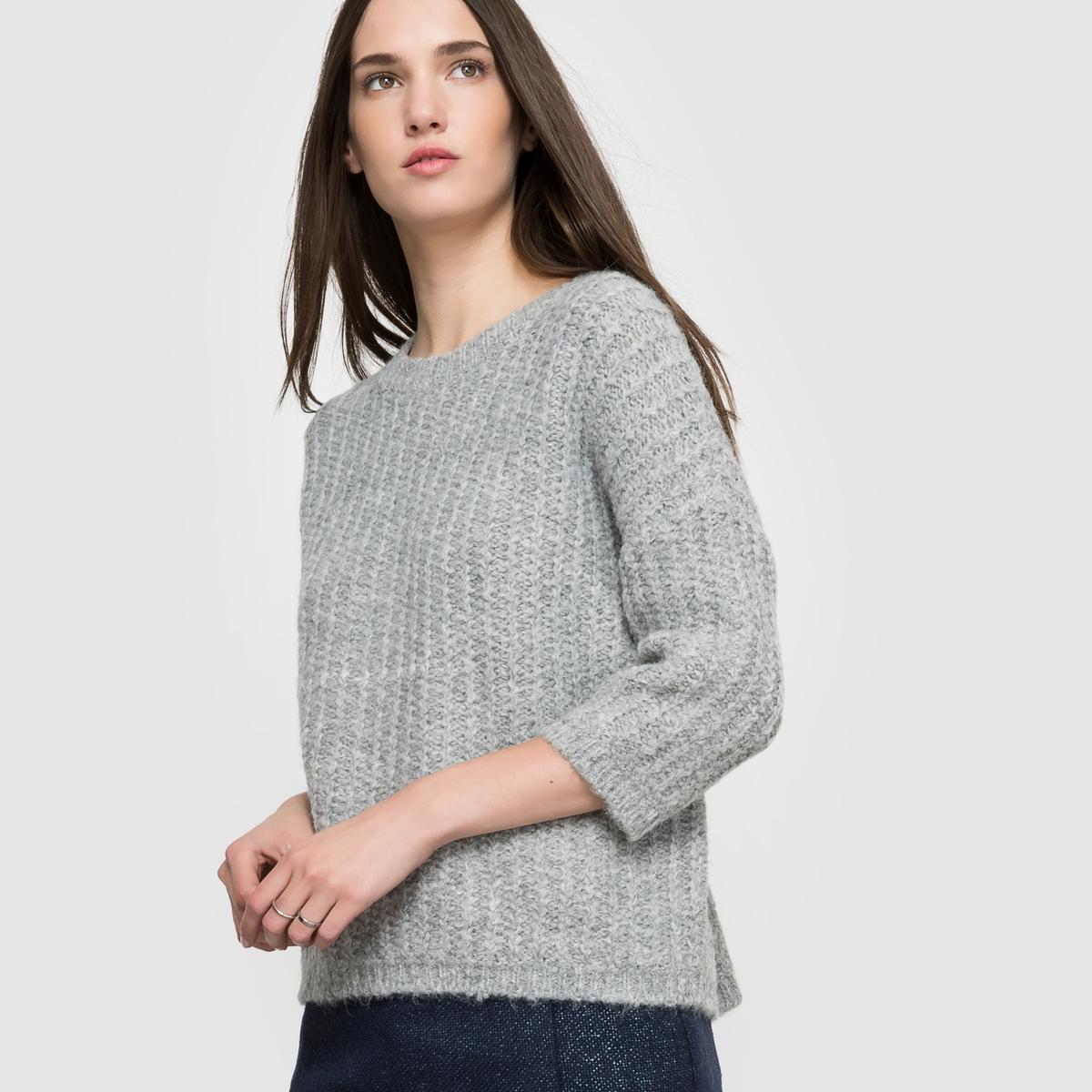 Пуловер с рукавами 3/4Состав и описаниеМатериал 57% акрила, 27% альпаги, 13% нейлона, 3% эластанаДлина       83 смМарка SUD EXPRESS<br><br>Цвет: жемчужный<br>Размер: 1(S).2(M)