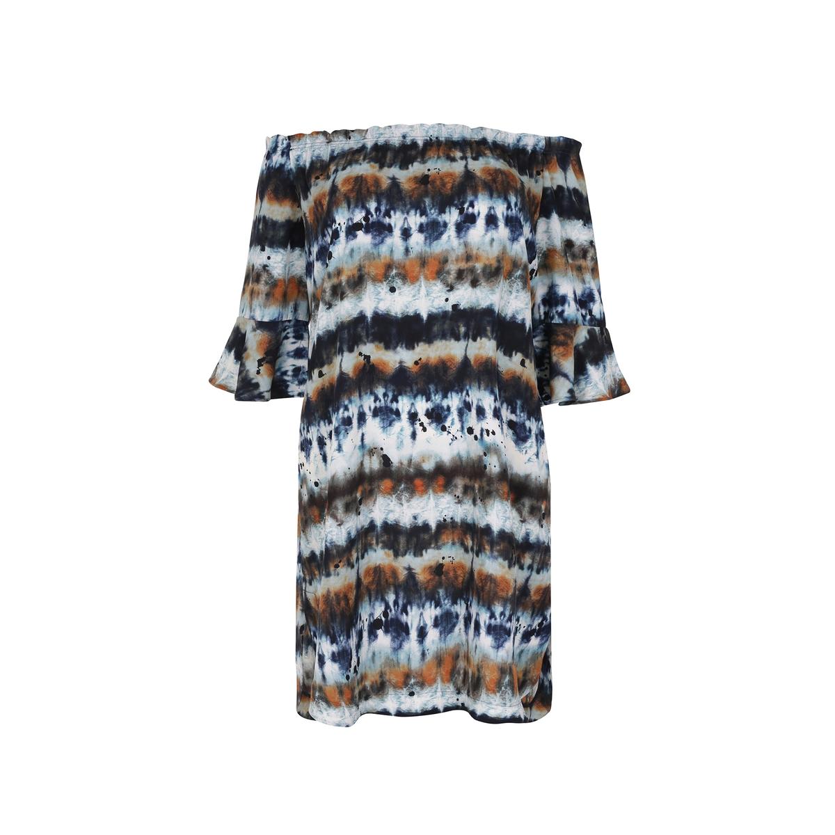 ПлатьеПлатье с открытыми плечами и принтом тай-энд-дай MAT FASHION. Объемный покрой из легкой ткани . Вырез из ткани стрейч, который можно переместить на плечи. Короткие рукава с воланами. 100% полиэстер<br><br>Цвет: разноцветный