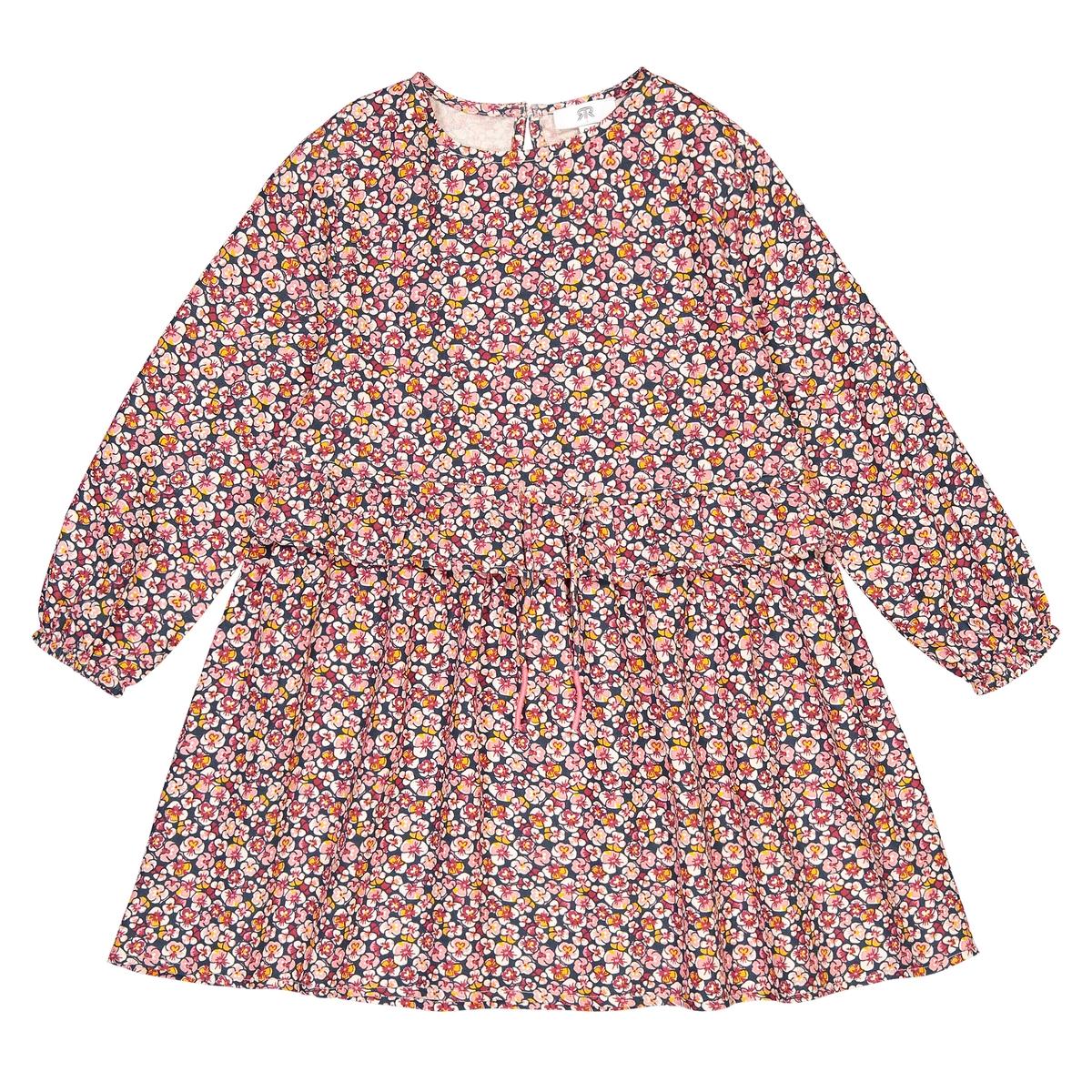 Vestido fluido de mangas compridas, motivo floral, 3-12 anos