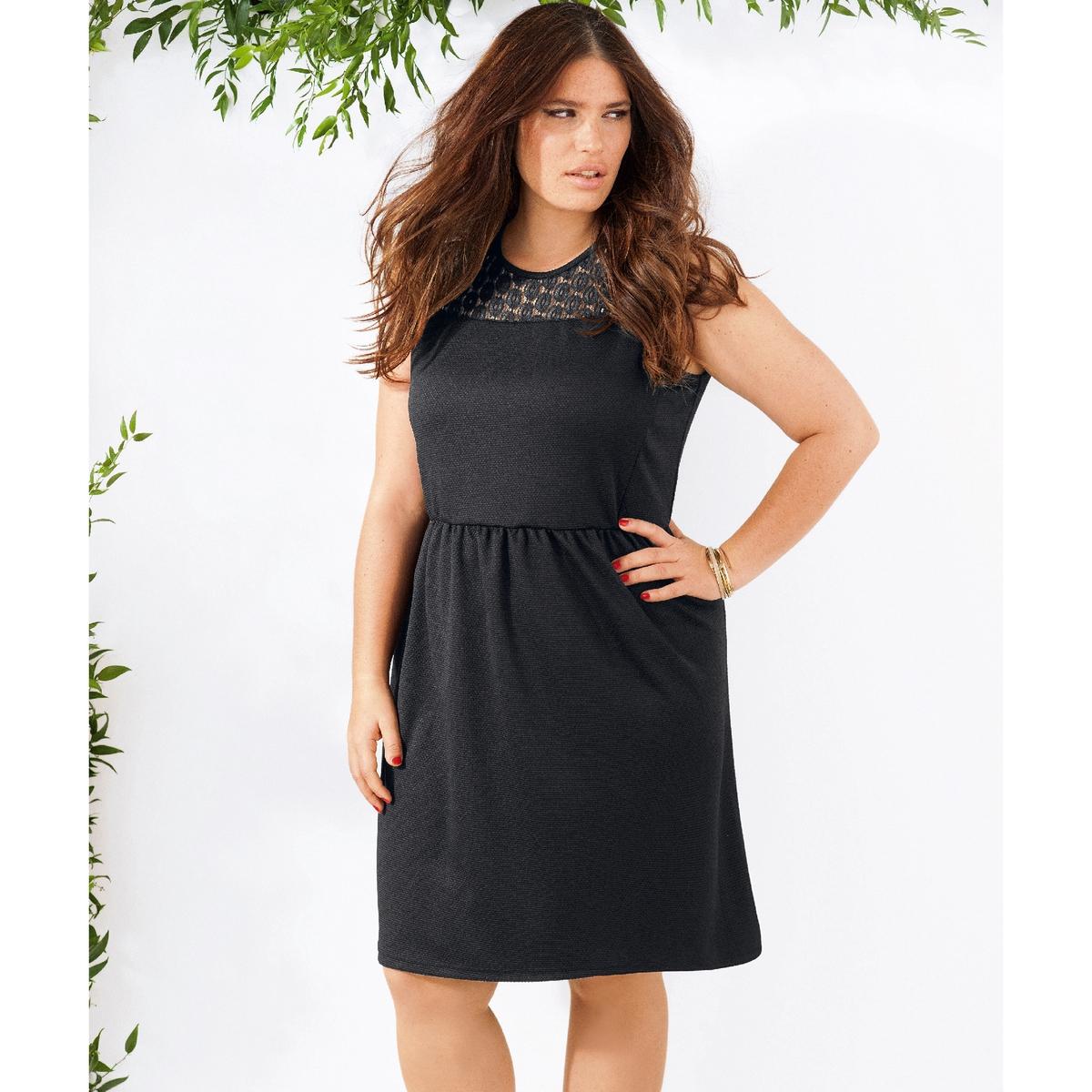 Платьеплатье . Красивая кружевная вставка наверху платья. Закругленный вырез . Без рукавов  . Приталенный покрой. Фактурный трикотаж, 100% полиэстер. Длина 100 см .<br><br>Цвет: черный<br>Размер: 52 (FR) - 58 (RUS)
