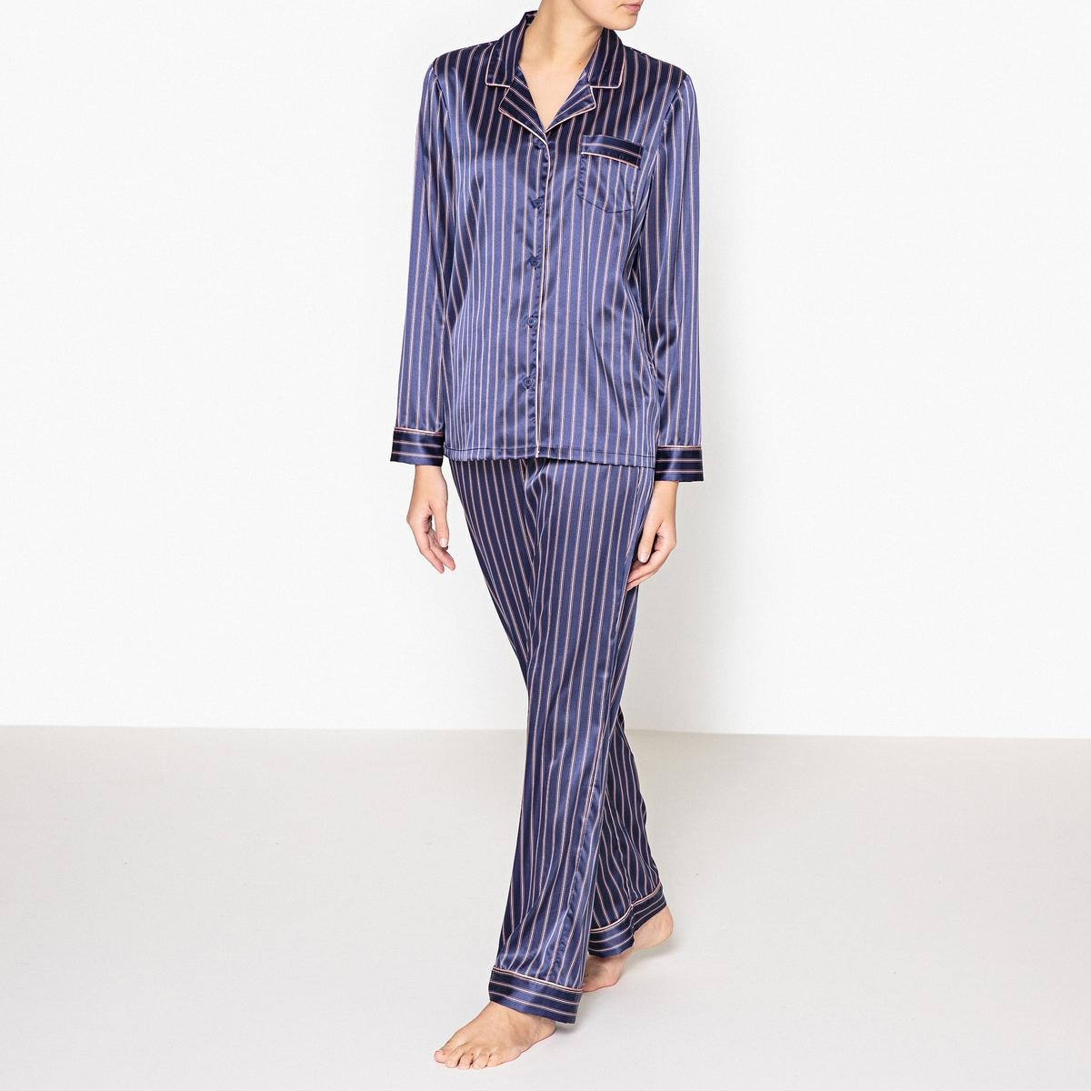 Пижама в полоскуПижама в винтажном стиле в полоску, Louise Marnay.Пижама из 2 предметов, прямой покрой, рисунок в полоску. Верх с накладными нагрудными карманами, застежкой на пуговицы и длинными рукавами. Брюки с эластичным поясом на завязках. Состав и описание : Материал : 96% полиэстера, 4% эластанаДлина :Верх: 68 смПо внутр.шву : 76 смМарка : Louise Marnay.Уход:Машинная стирка при 30 °С на деликатном режиме с вещами схожих цветов.Стирать и гладить при низкой температуре с изнаночной стороны.Машинная сушка запрещена.<br><br>Цвет: в полоску<br>Размер: 46 (FR) - 52 (RUS).52 (FR) - 58 (RUS).50 (FR) - 56 (RUS).40 (FR) - 46 (RUS)