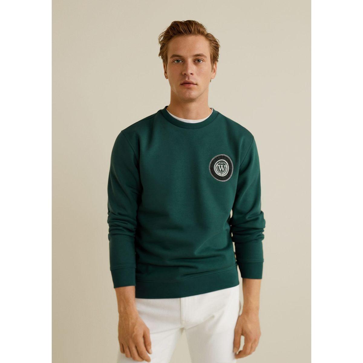 Sweat-shirt coton écusson