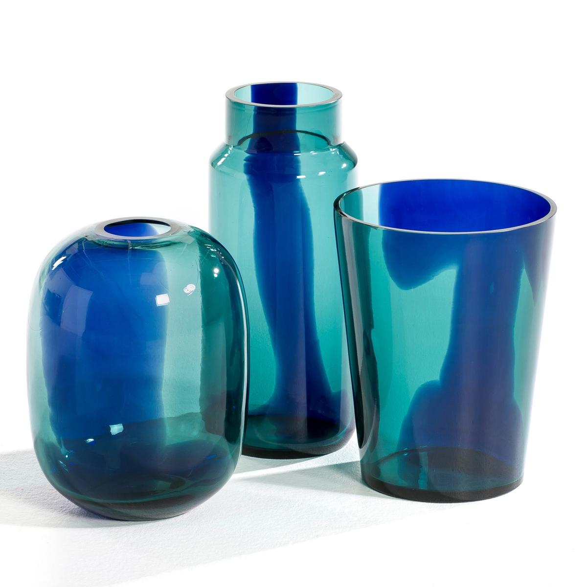 Ваза овальной формы, OdomarВаза Odomar. Очень красивый эффект капель краски, растворяющихся в бирюзовой воде... Из стекла. Размеры. : Диаметр 19,5 x высота 26 см.<br><br>Цвет: зеленый/ синий<br>Размер: единый размер